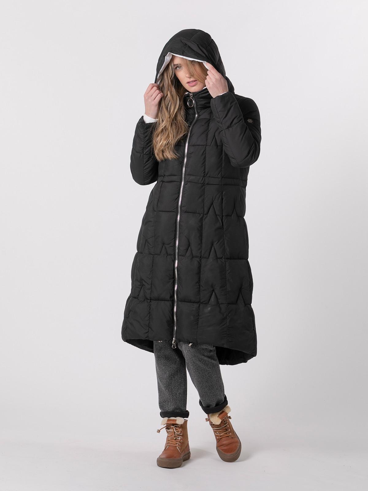 Plumifero mujer largo con capucha Negro