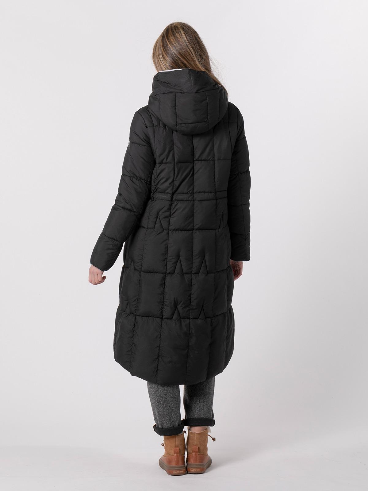 Woman Long hooded down jacket Black