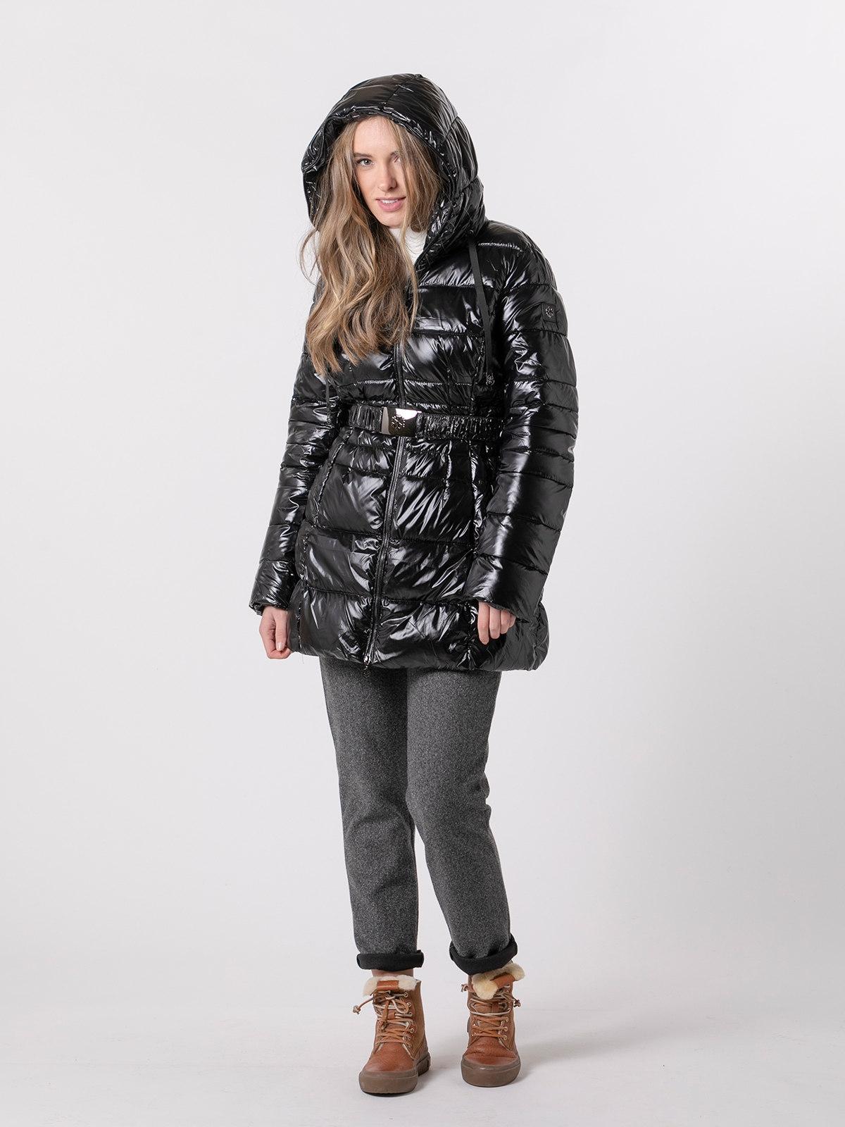 Abrigo mujer impermeable ajustable Negro