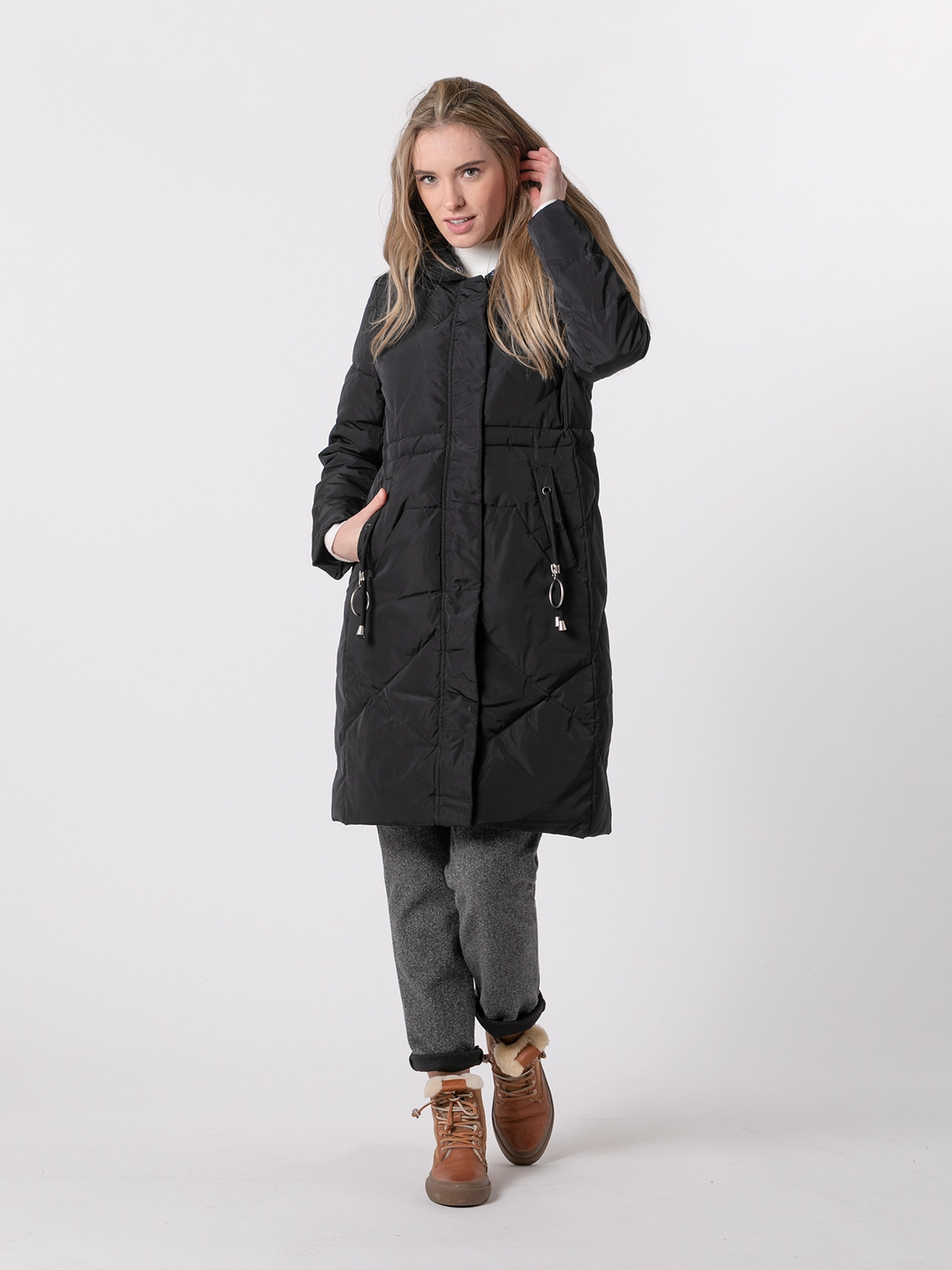 Woman Long down jacket with pockets Black
