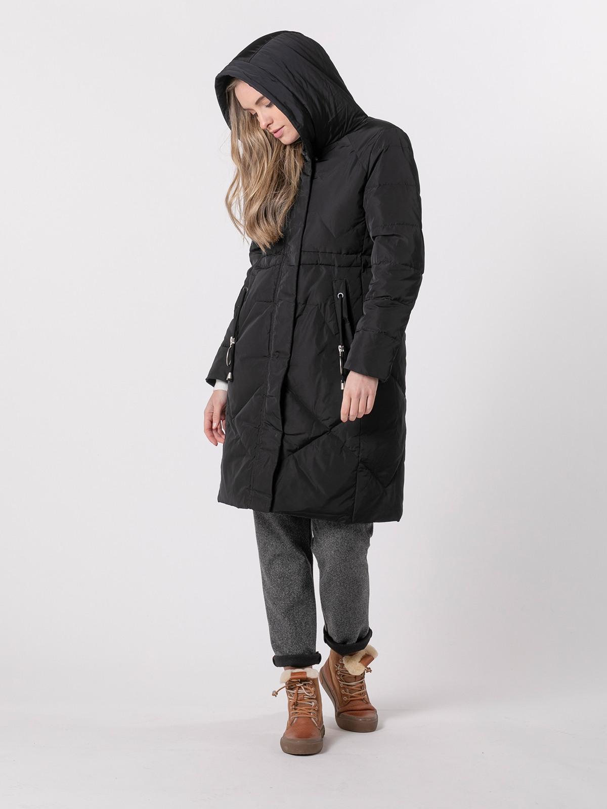 Plumifero mujer largo bolsillos Negro