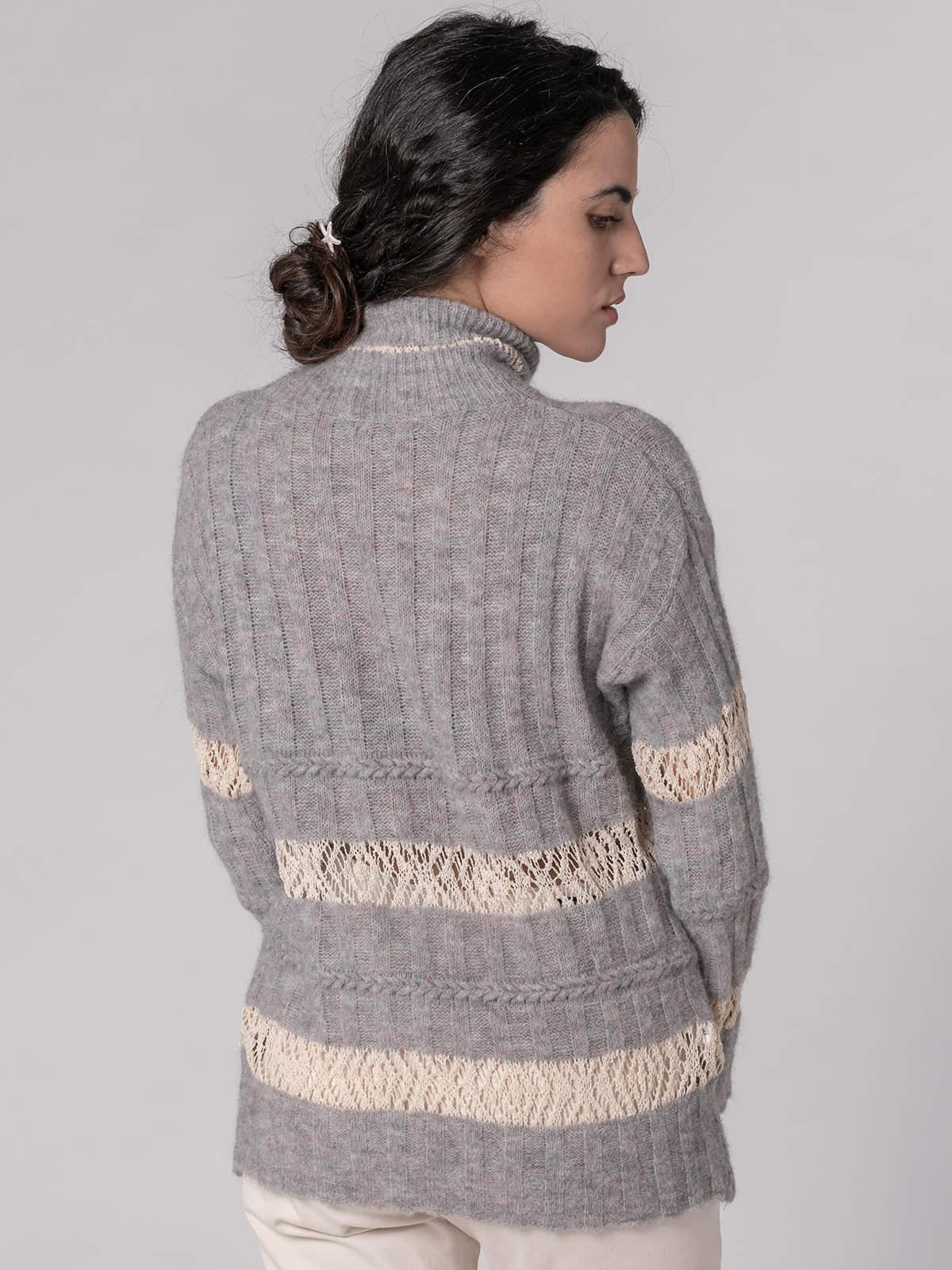 Woman Striped high neck sweater Grey