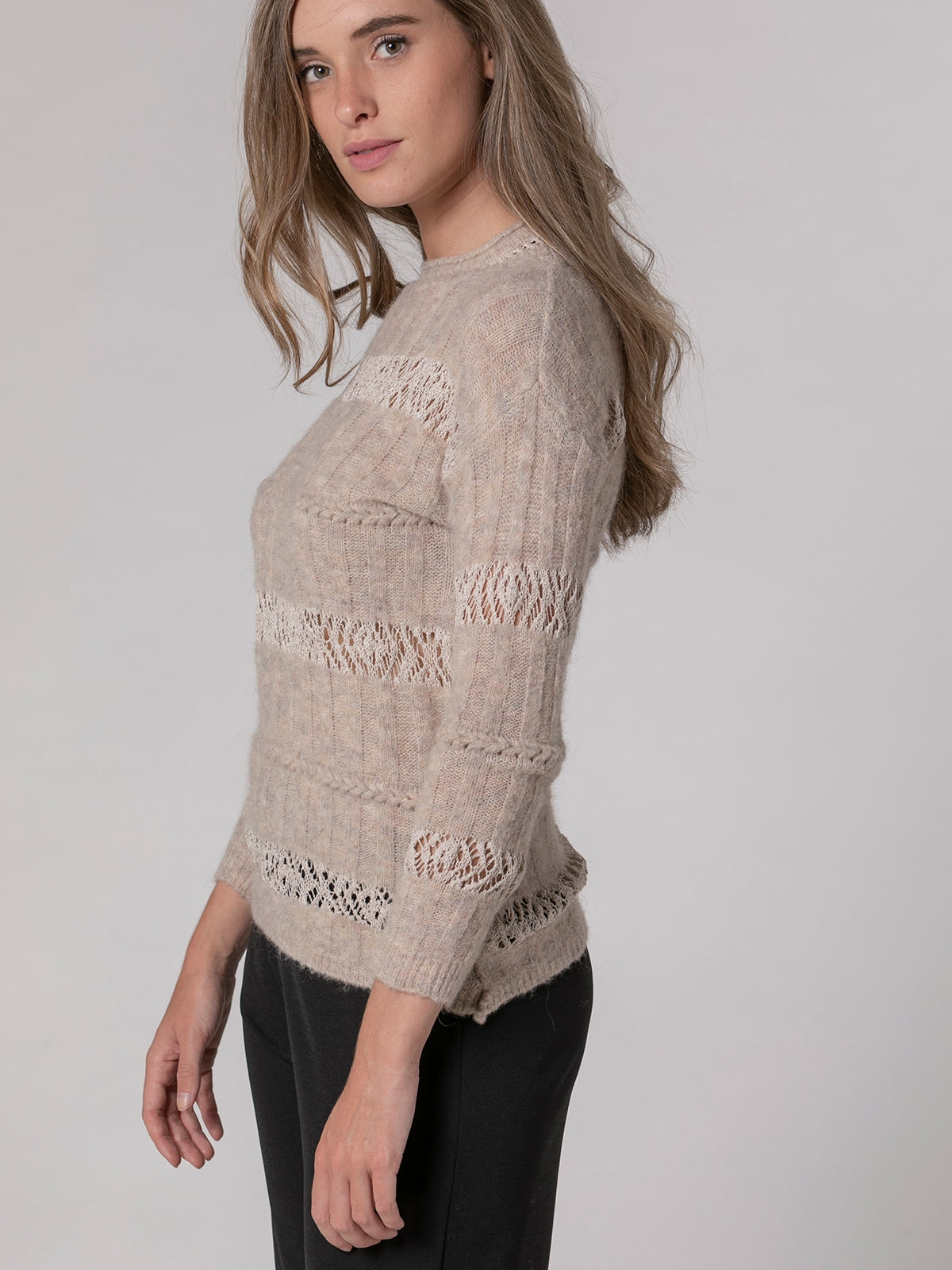 Jersey mujer cuello redondo lana algodón Beige