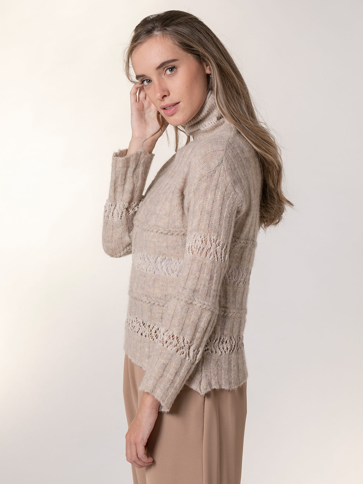 Woman Striped high neck sweater Beige