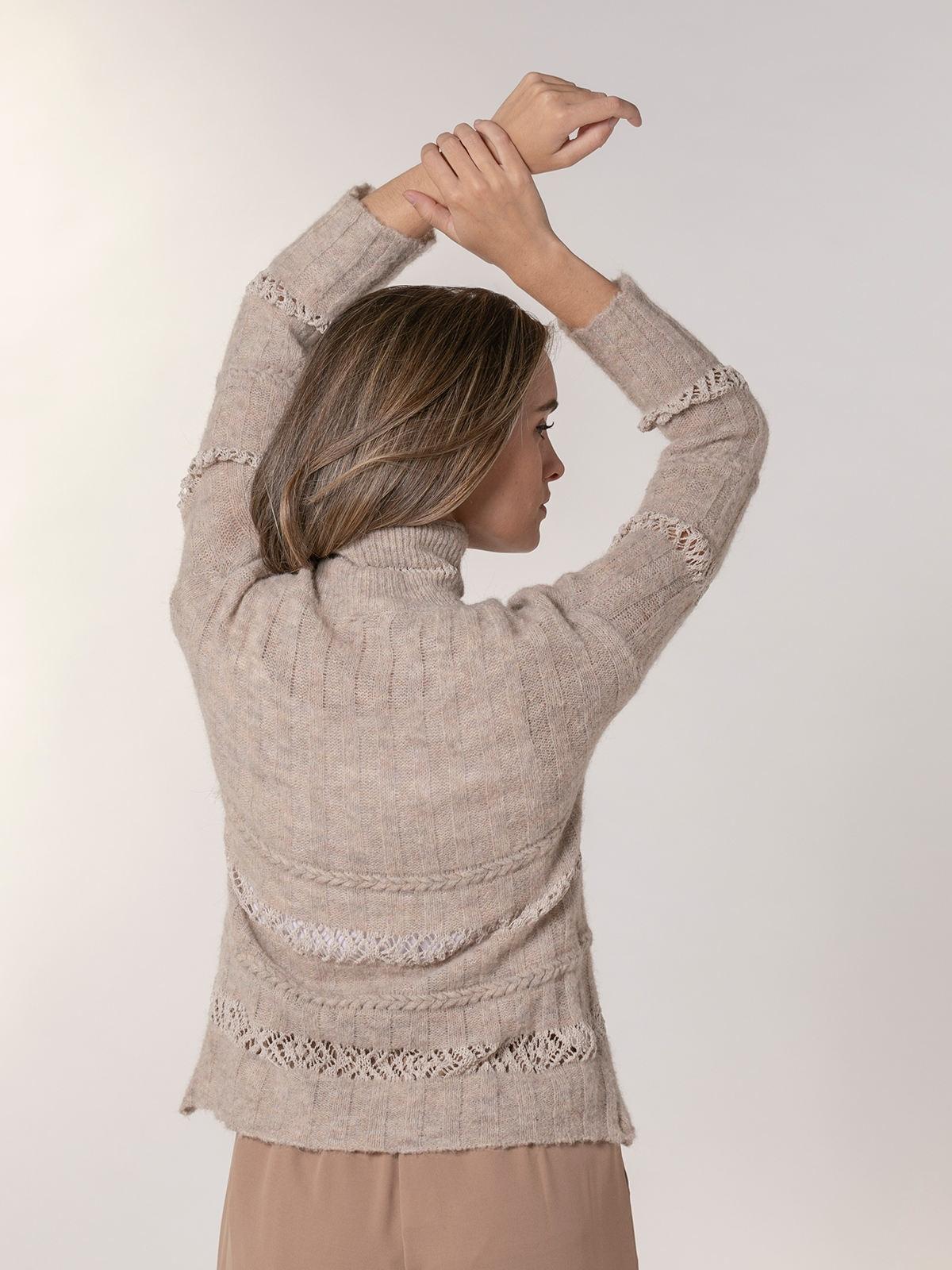 Jersey mujer cuello alto franjas Beige