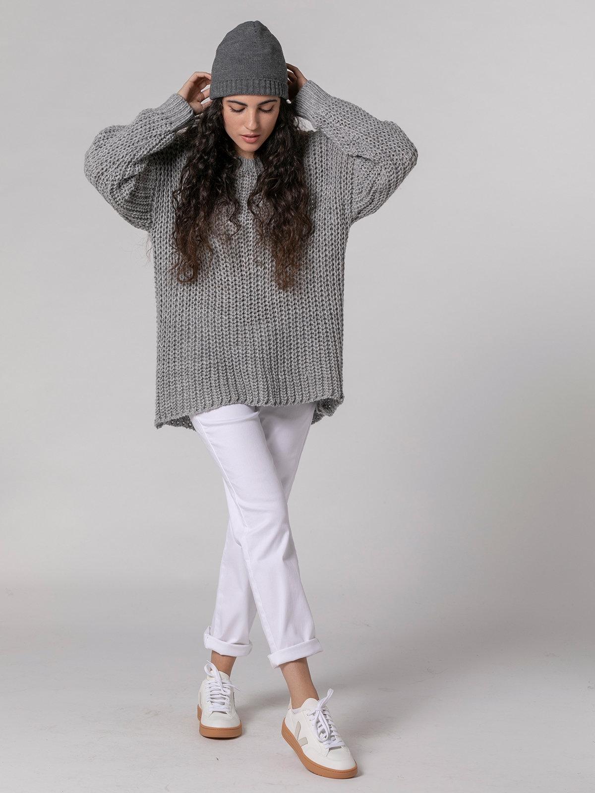 Jersey mujer de punto con bolsillos Gris