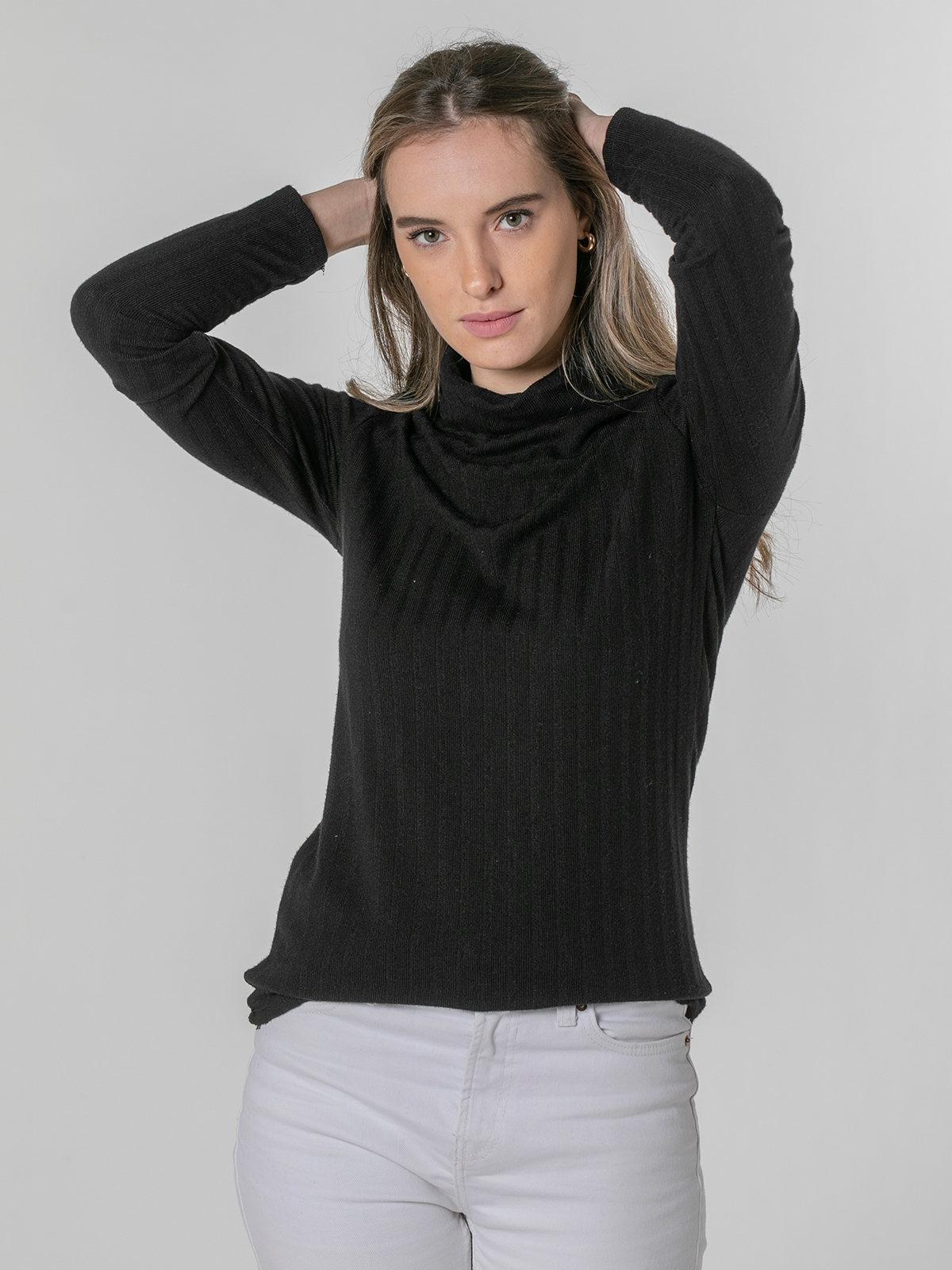 Woman high neck polo Black
