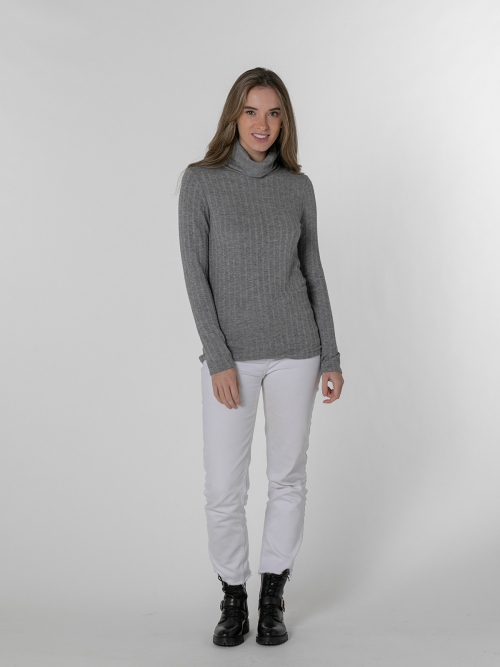 Woman high neck polo Grey