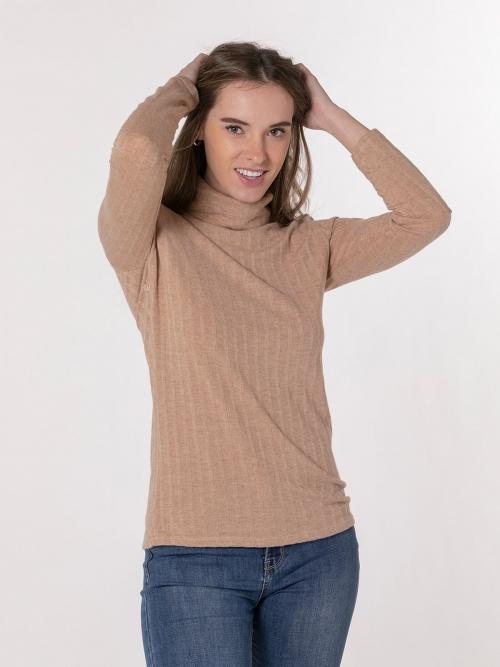 Woman high neck polo Camel