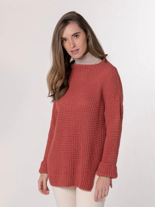 Woman Curvy knit sweater Tile