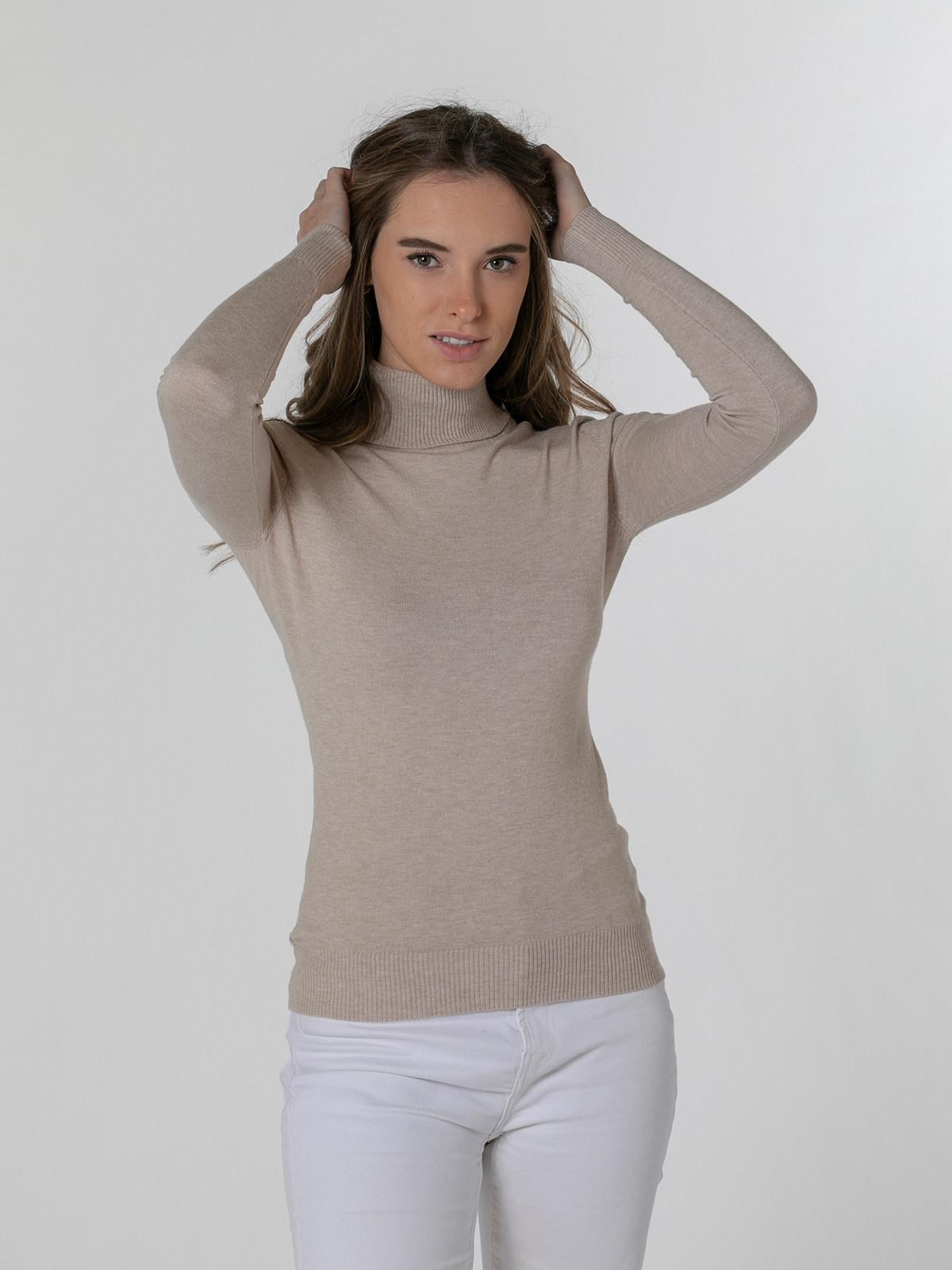 Jersey mujer cuello alto suave Beige