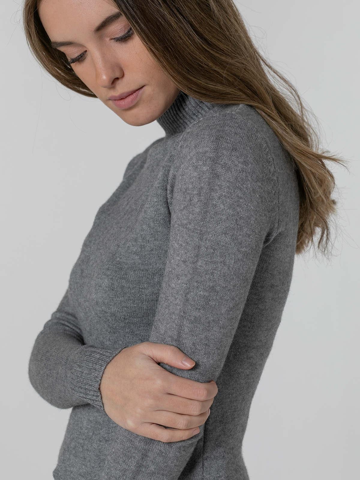 Jersey mujer cuello vuelto grueso suave Gris