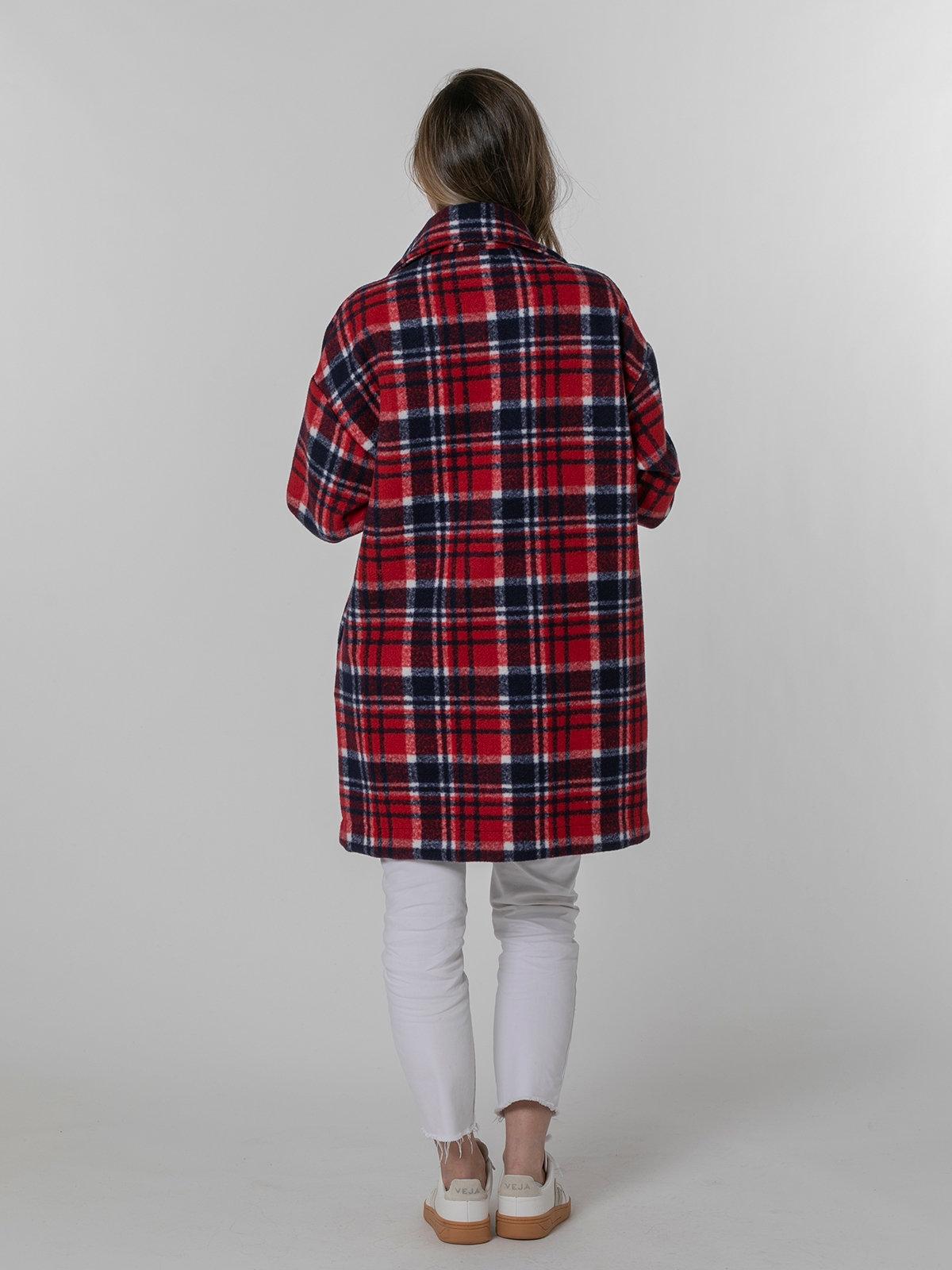 Abrigo mujer cuadro escoses bolsillo plastón Rojo