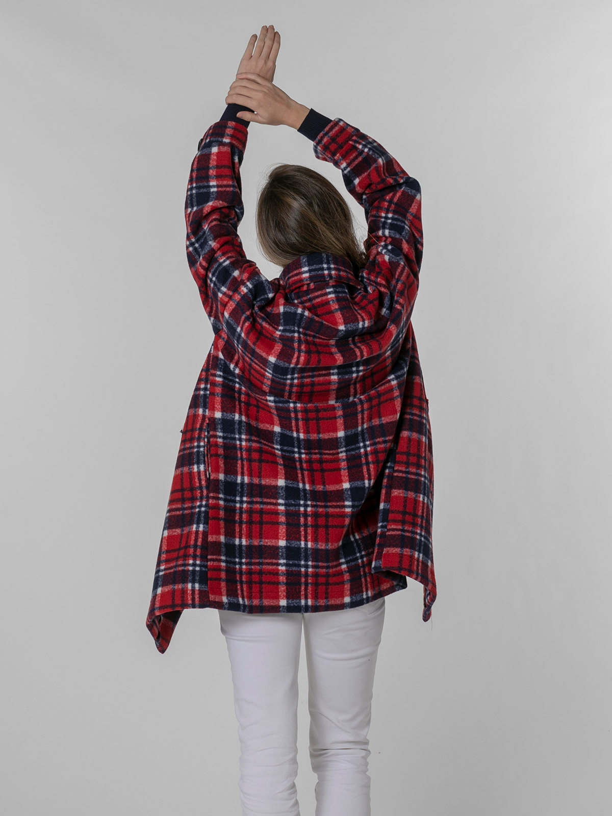 Woman Scottish checked coat with pocket Red