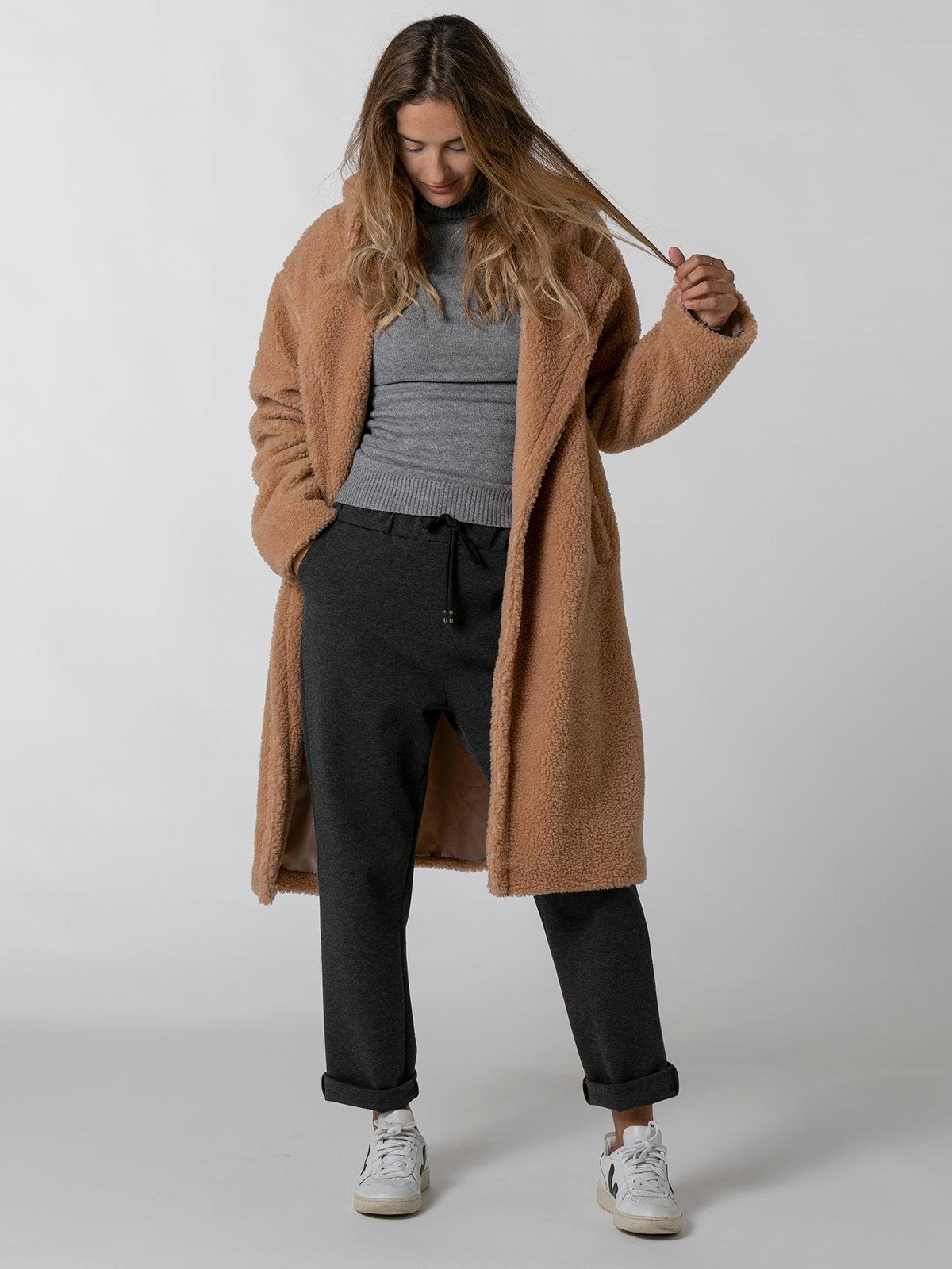 Woman Long hooded shearling coat Beige