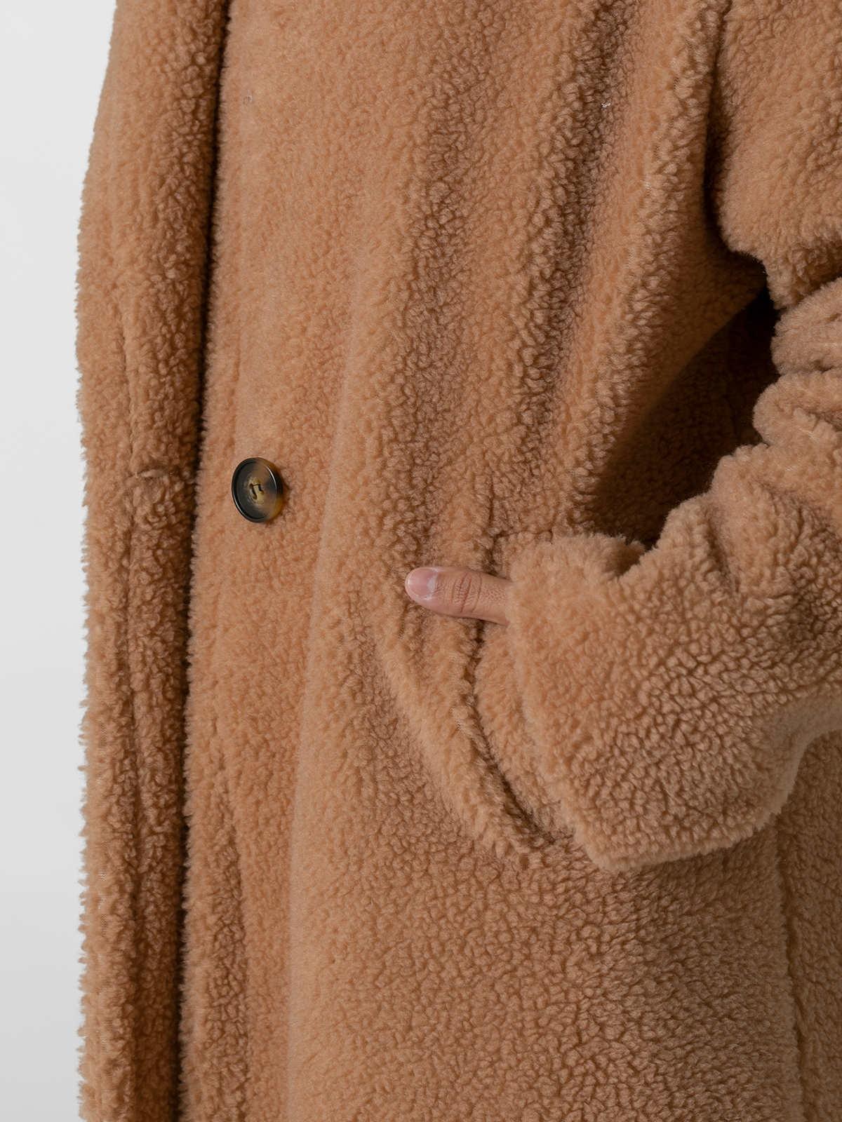 Abrigo mujer largo borrego capucha Beige