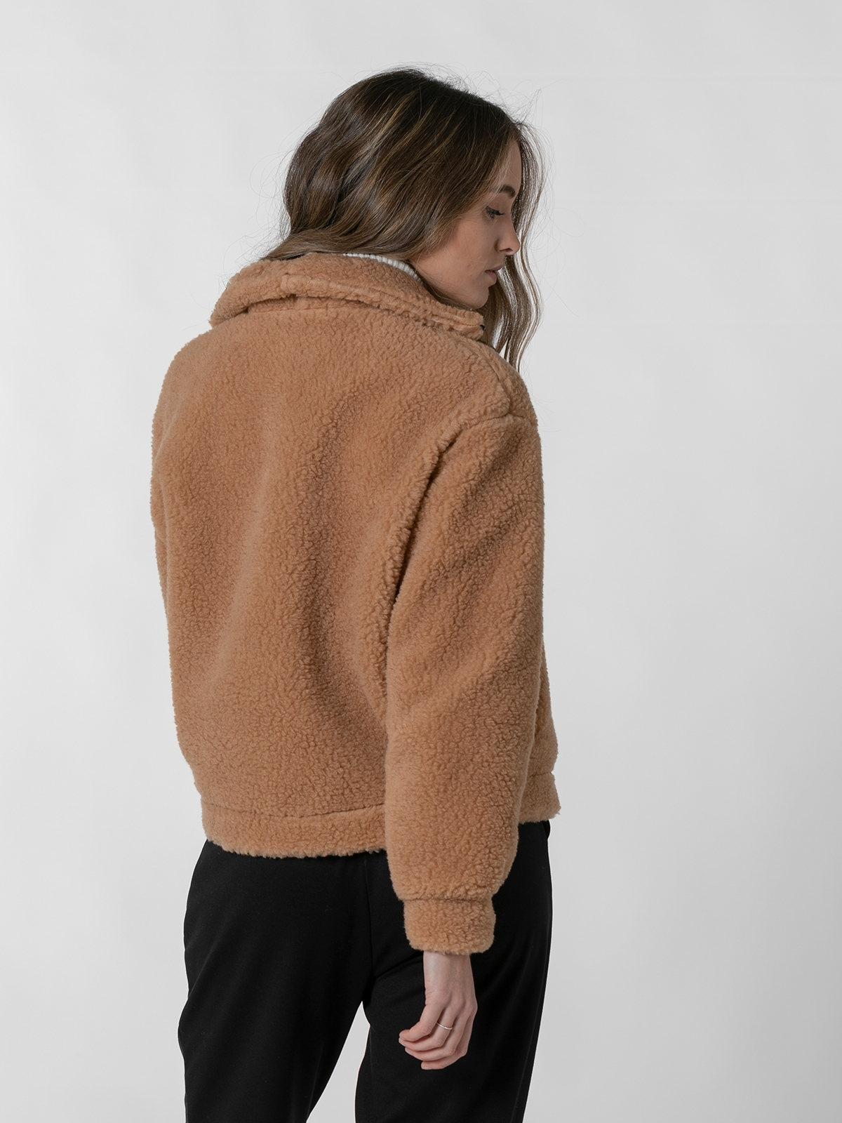 Woman Short shearling jacket Beige