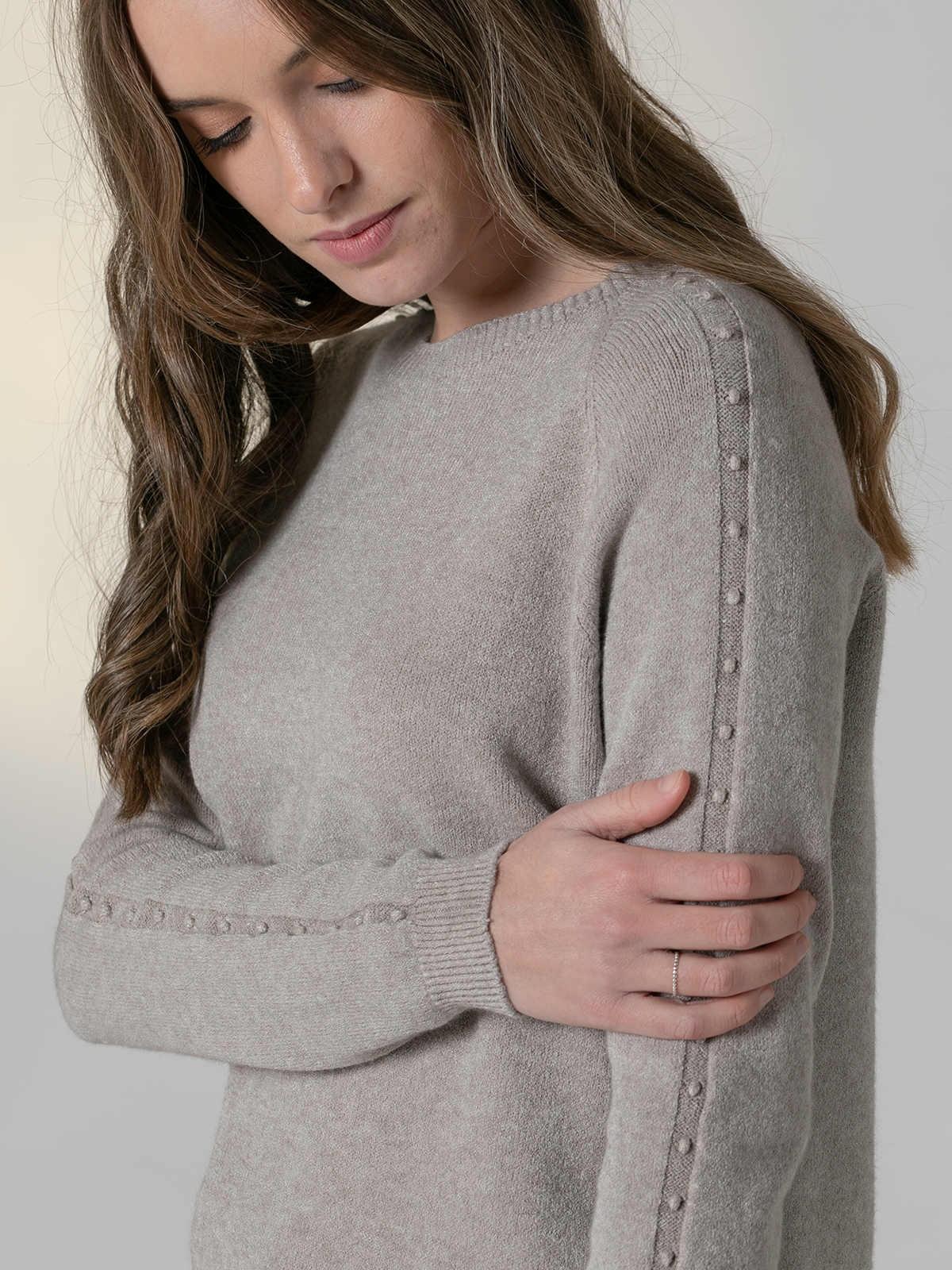 Jersey mujer cuello redondo perlas Piedra