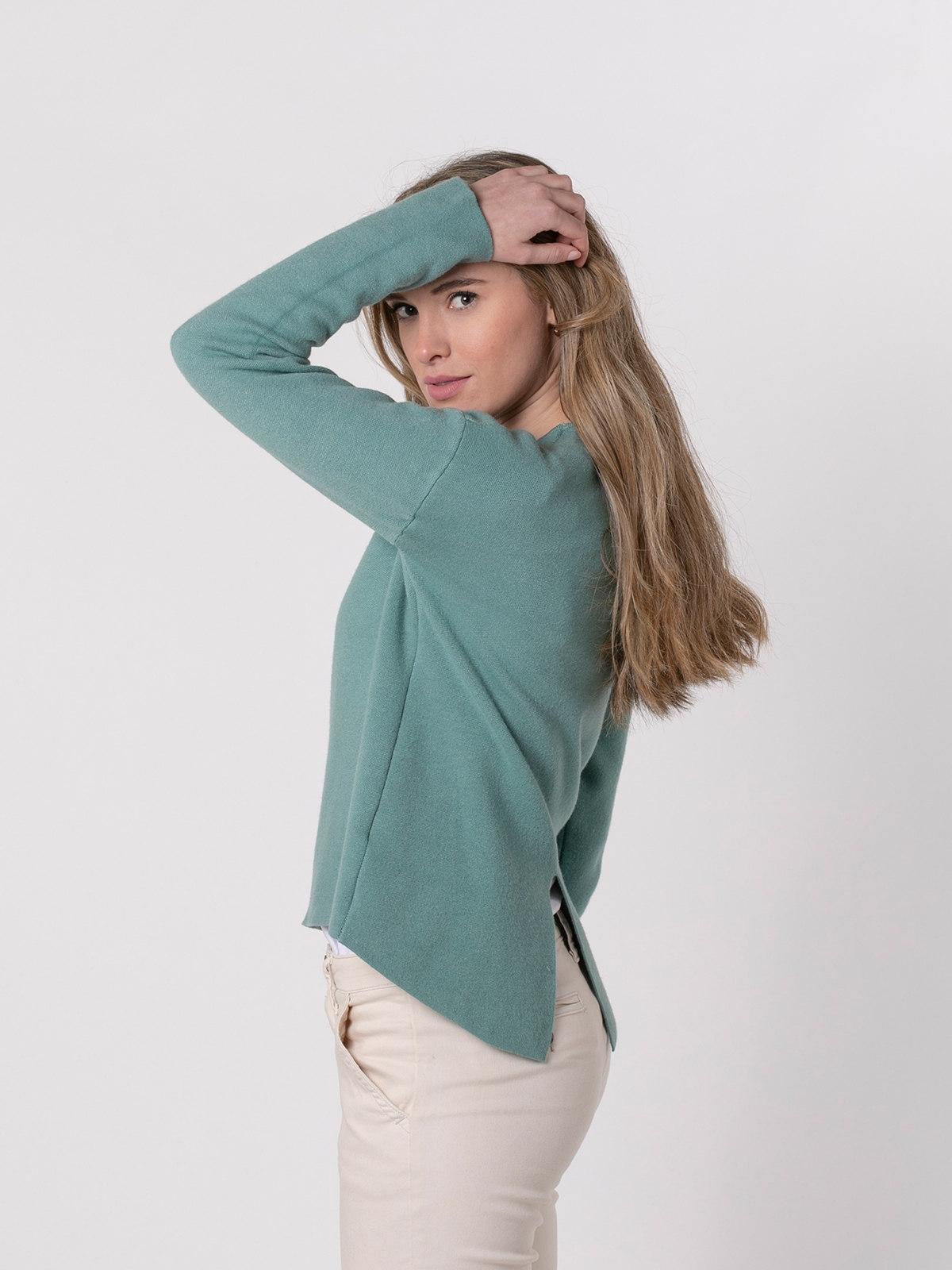 Jersey punto mujer cuello redondo soft Verde