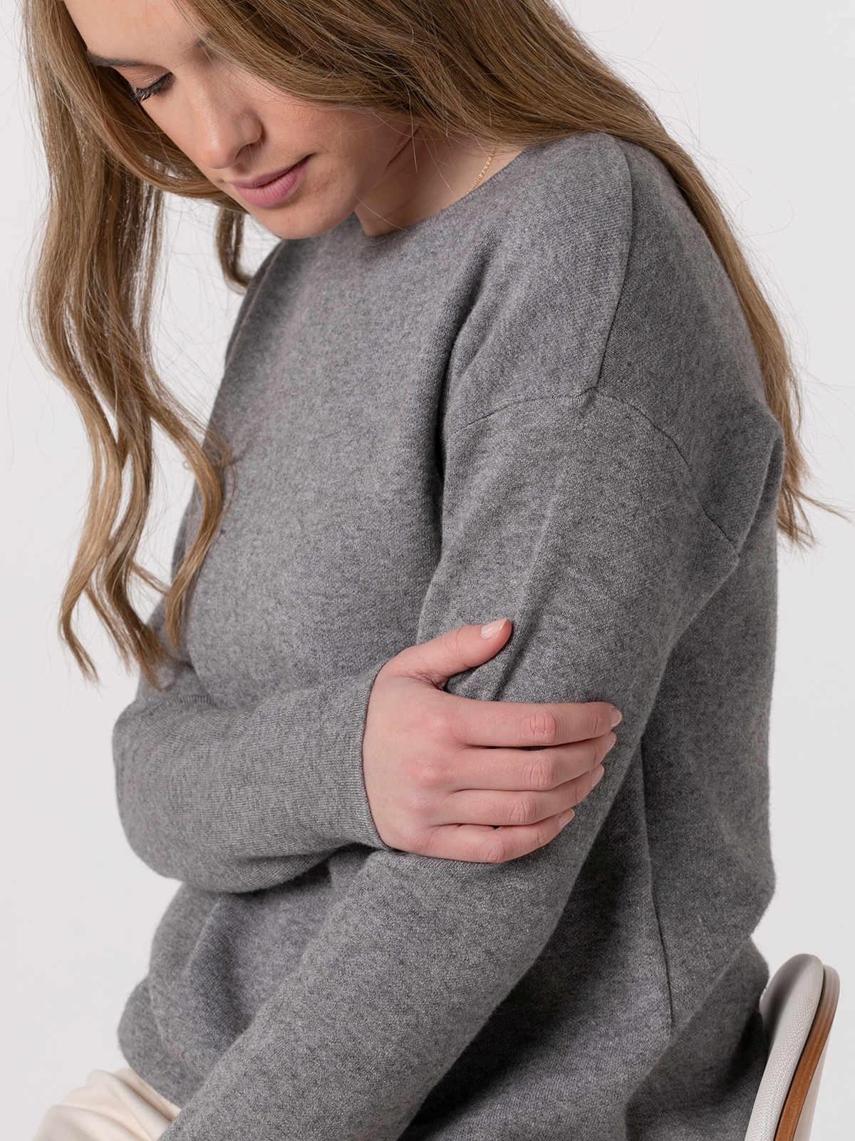 Jersey punto mujer cuello redondo soft Gris