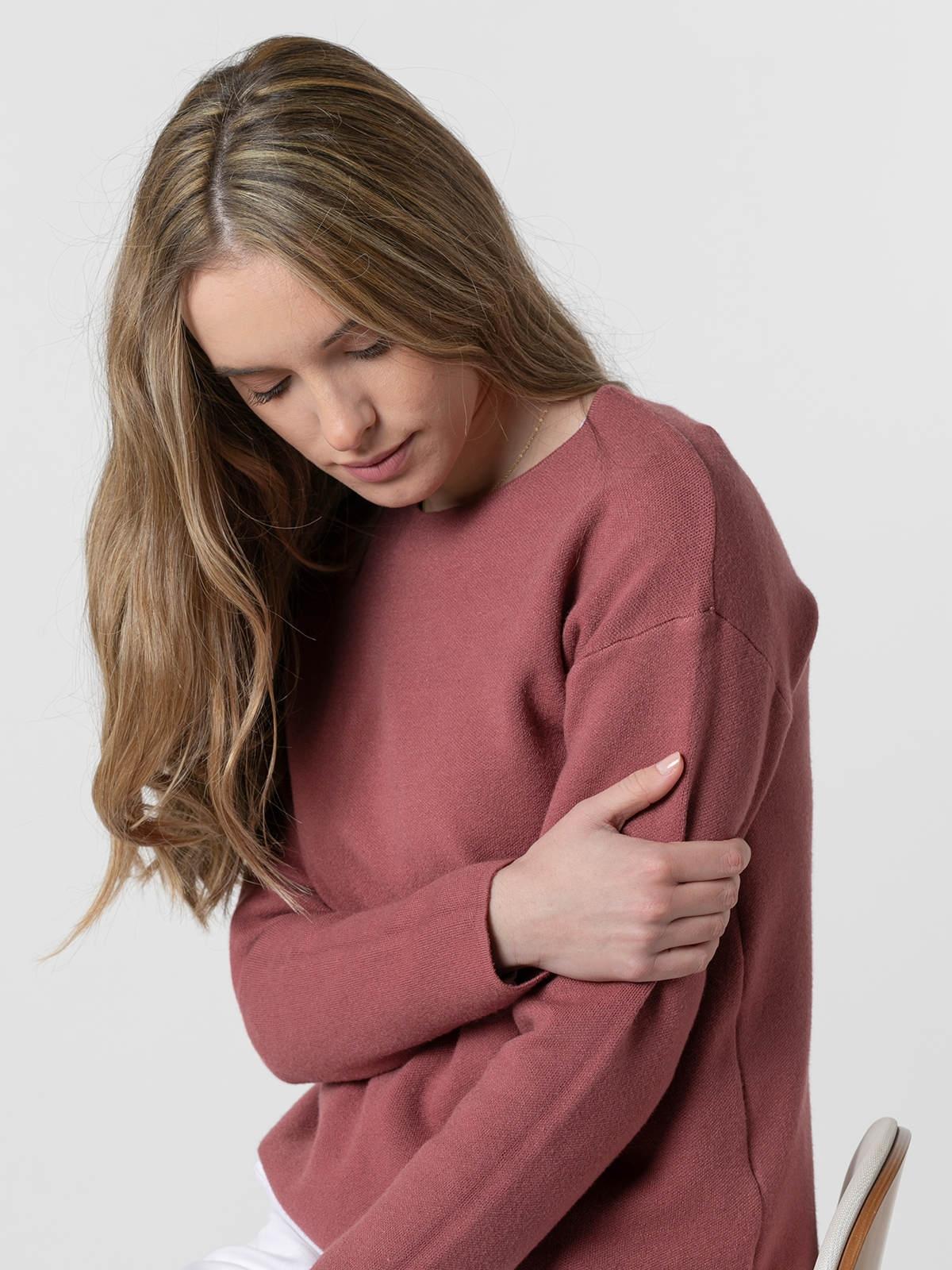 Jersey punto mujer cuello redondo soft Rosa fuerte