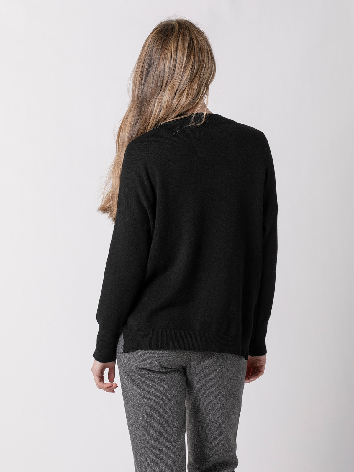Jersey punto mujer cuello redondo Negro