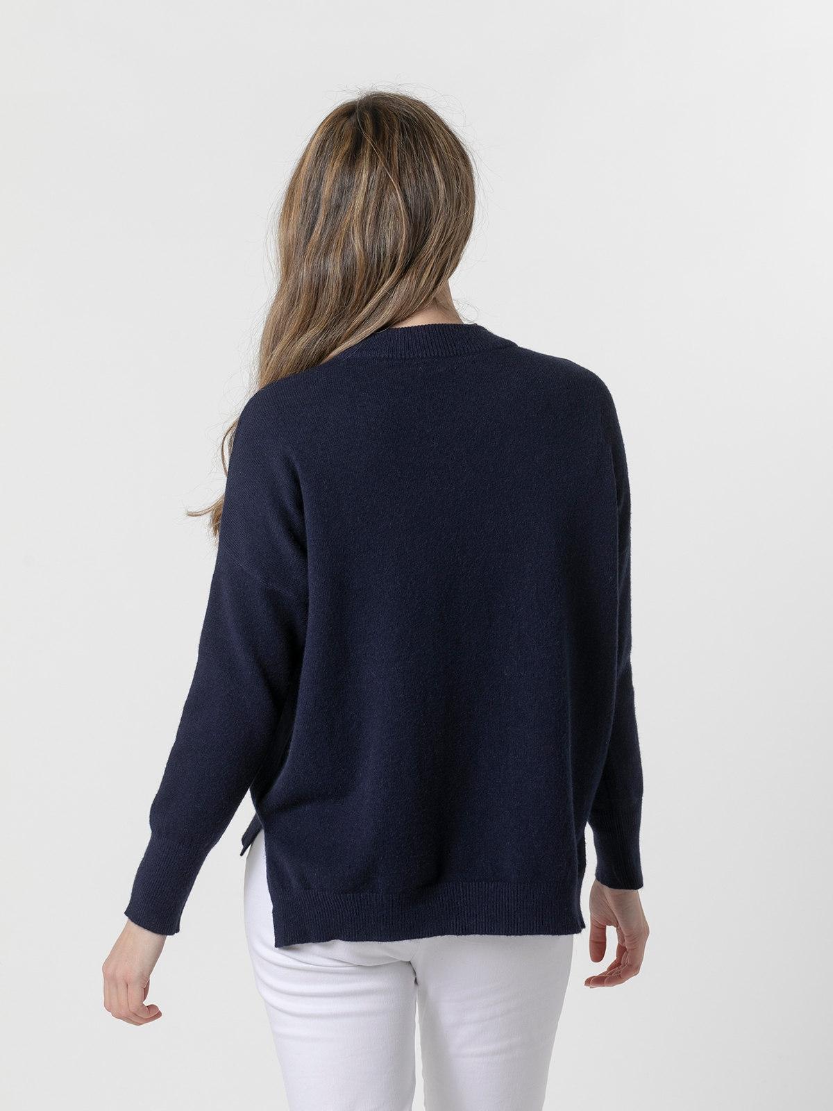 Jersey punto mujer cuello redondo Azul Marino