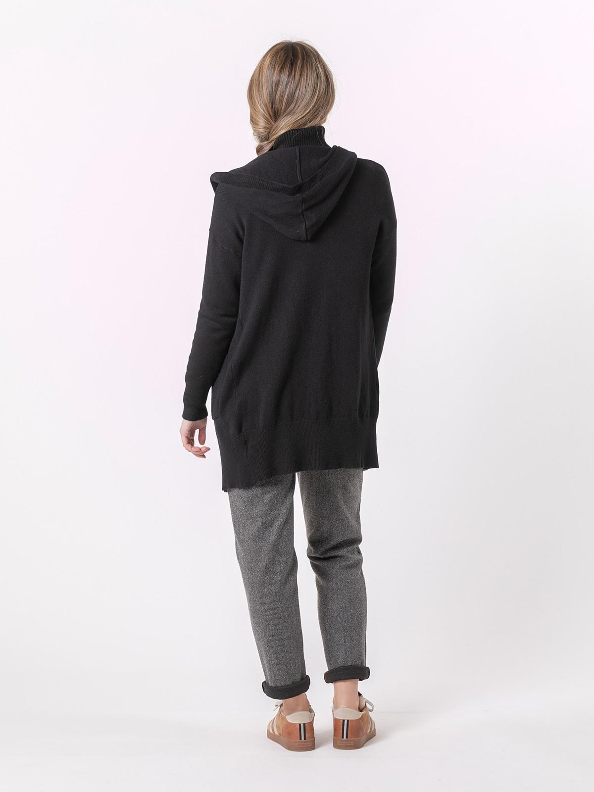 Woman Chunky cashmire like knit jacket Black