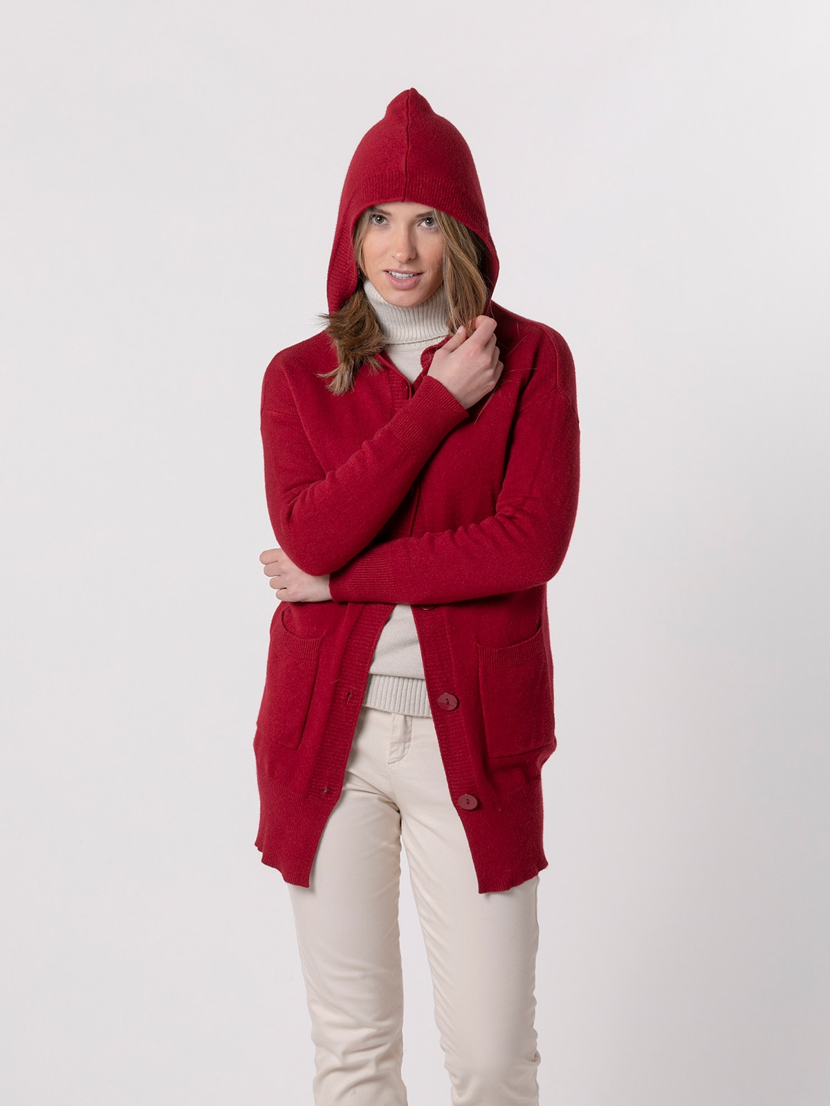 Woman Chunky cashmire like knit jacket Red