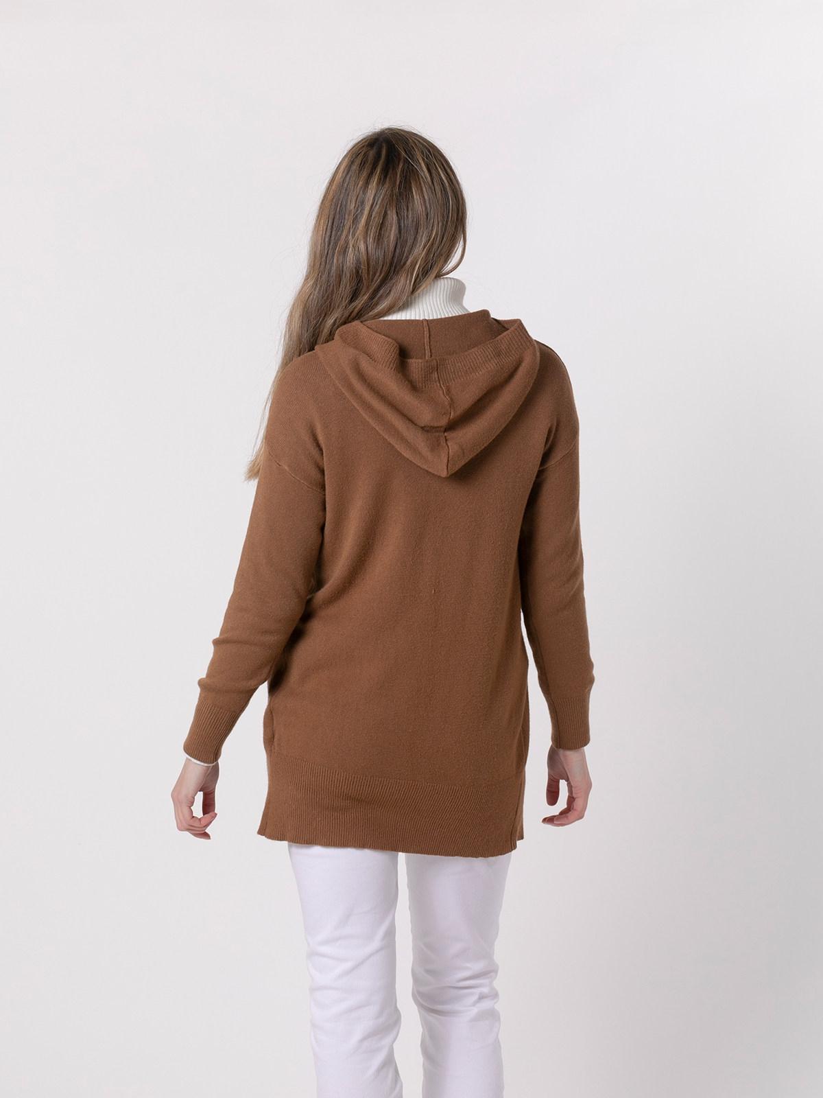 Woman Chunky cashmire like knit jacket Camel