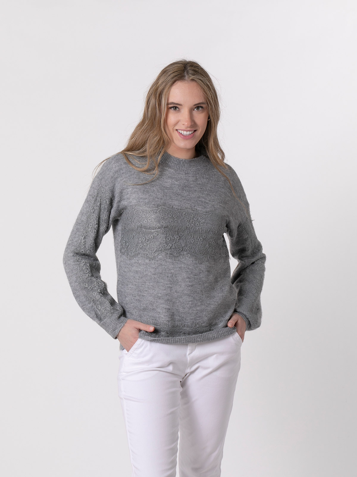 Woman Short lace knit sweater Grey