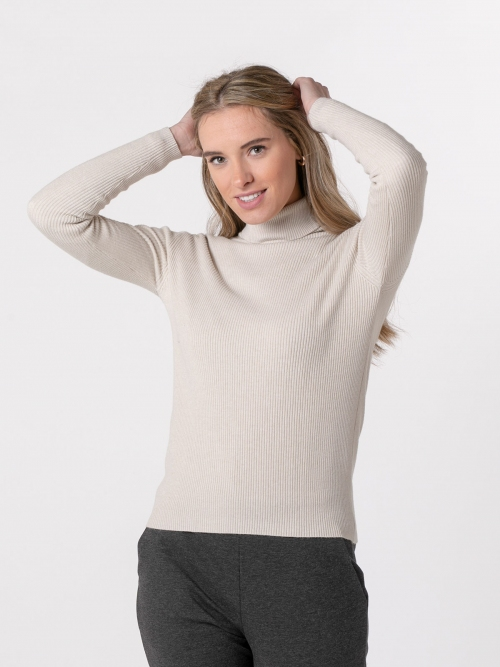 Jersey mujer canale cuello vuelto Beige