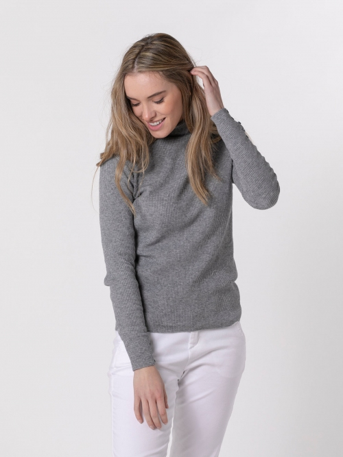 Jersey mujer canale cuello vuelto Gris