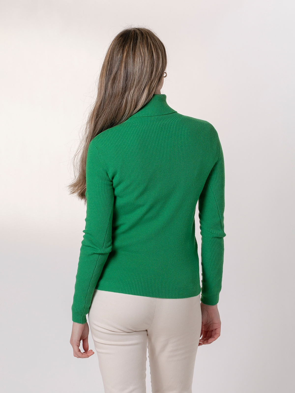 Woman Ribbed turtleneck sweater Green Gucci