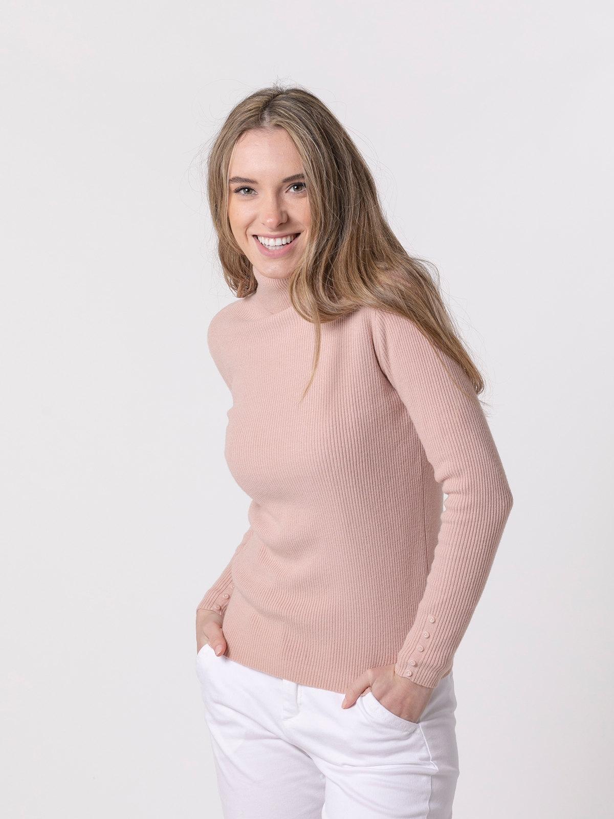 Woman Ribbed turtleneck sweater Pink