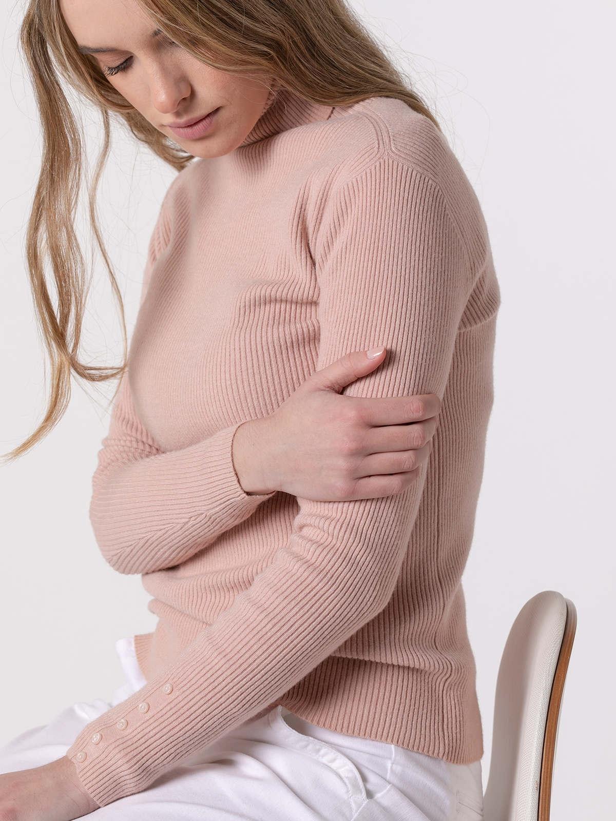 Jersey mujer canale cuello vuelto Rosa