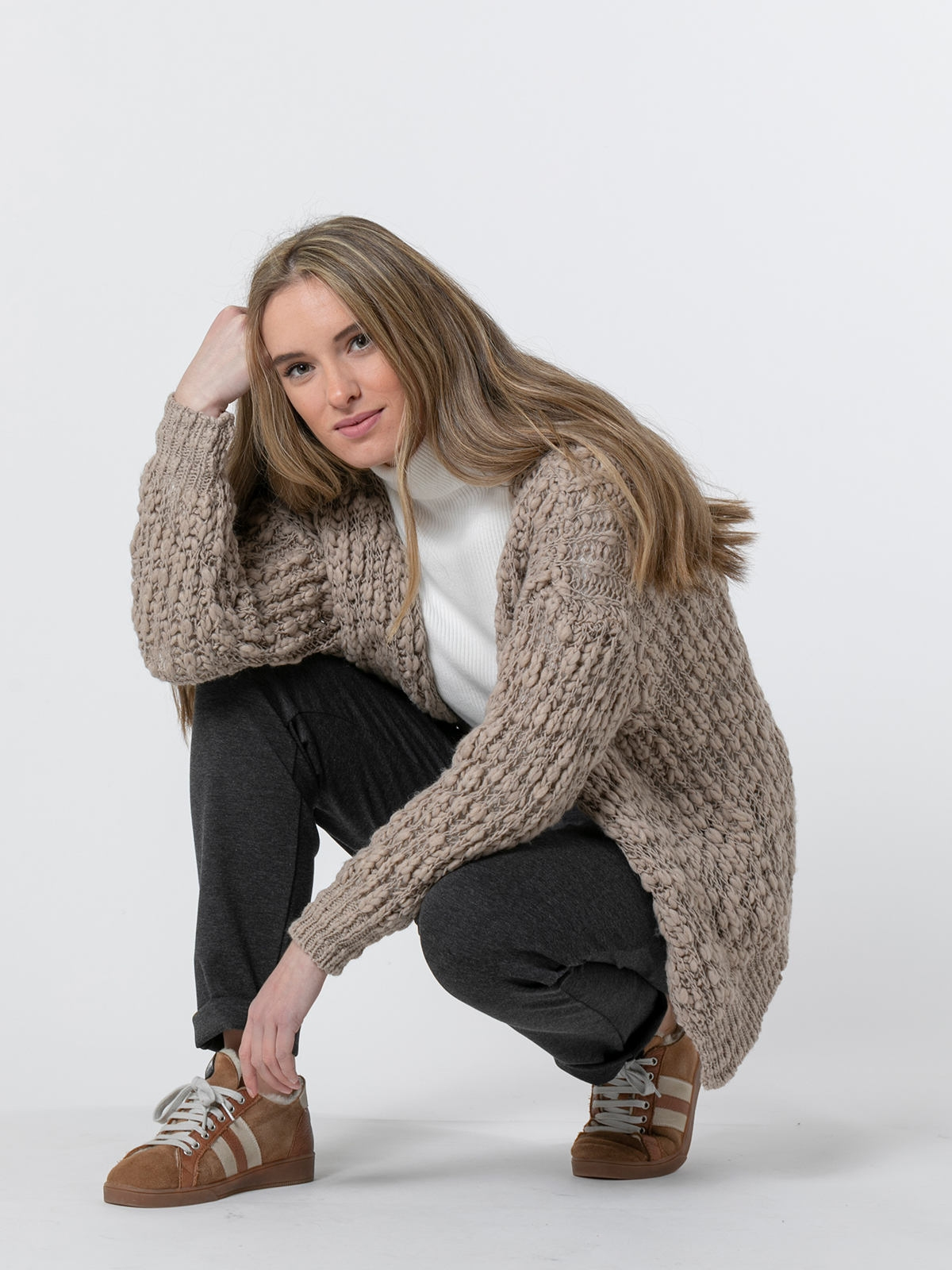 Woman Special knit jacket Stone
