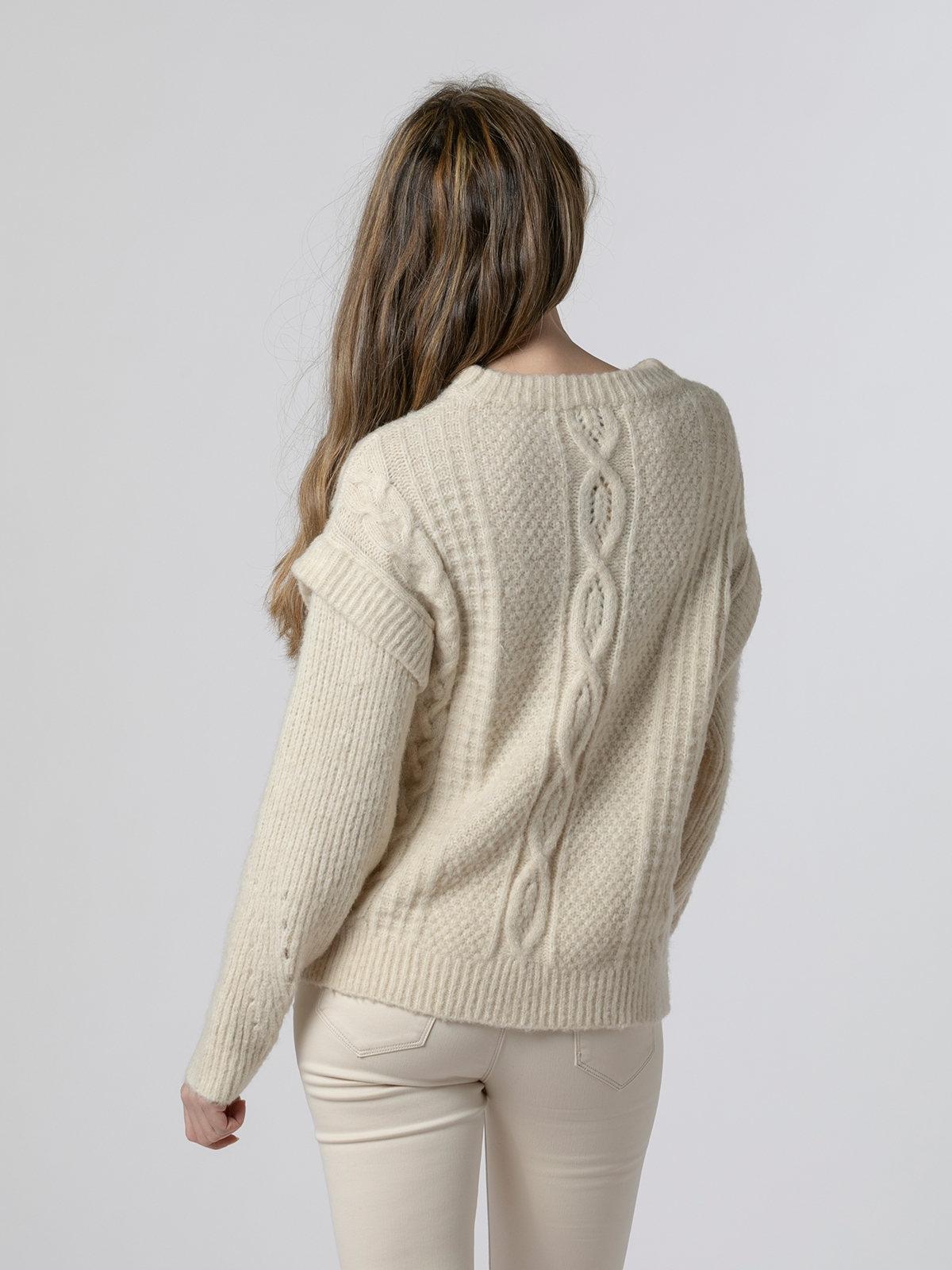 Woman Special sleeve knit sweater Beige