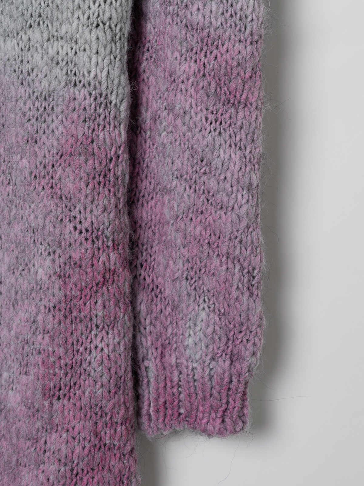 Woman Long gradient cardigan Pink