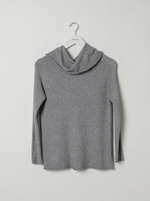 Woman Drop neck knit sweater Grey