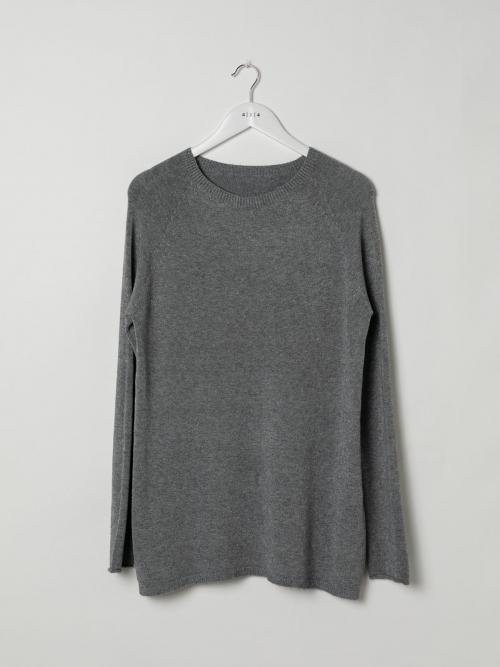 Woman Round neck knit sweater Grey