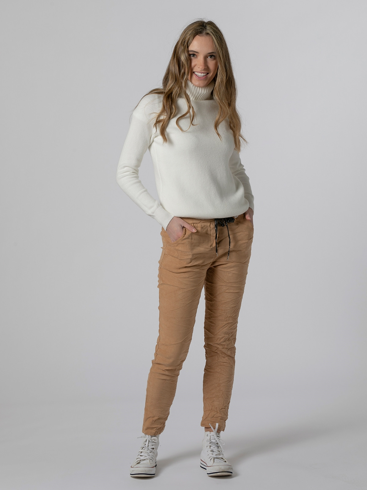 Pantalón mujer sport goma tinte ecológico Beige