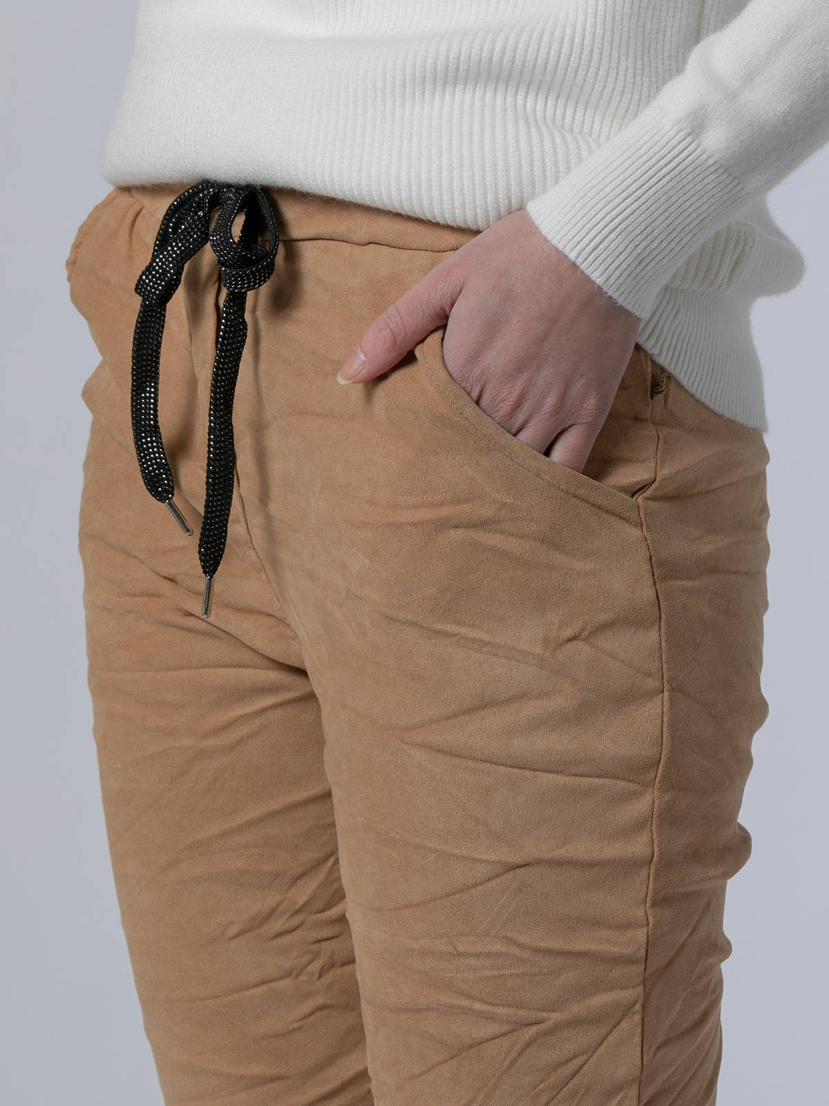Woman Ecological dye rubber sport pants Beige