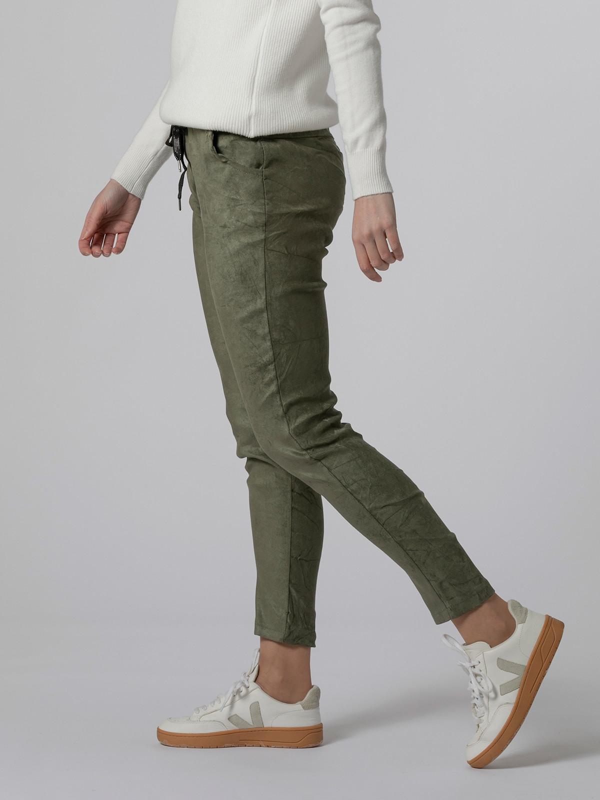 Woman Ecological dye rubber sport pants Khaki