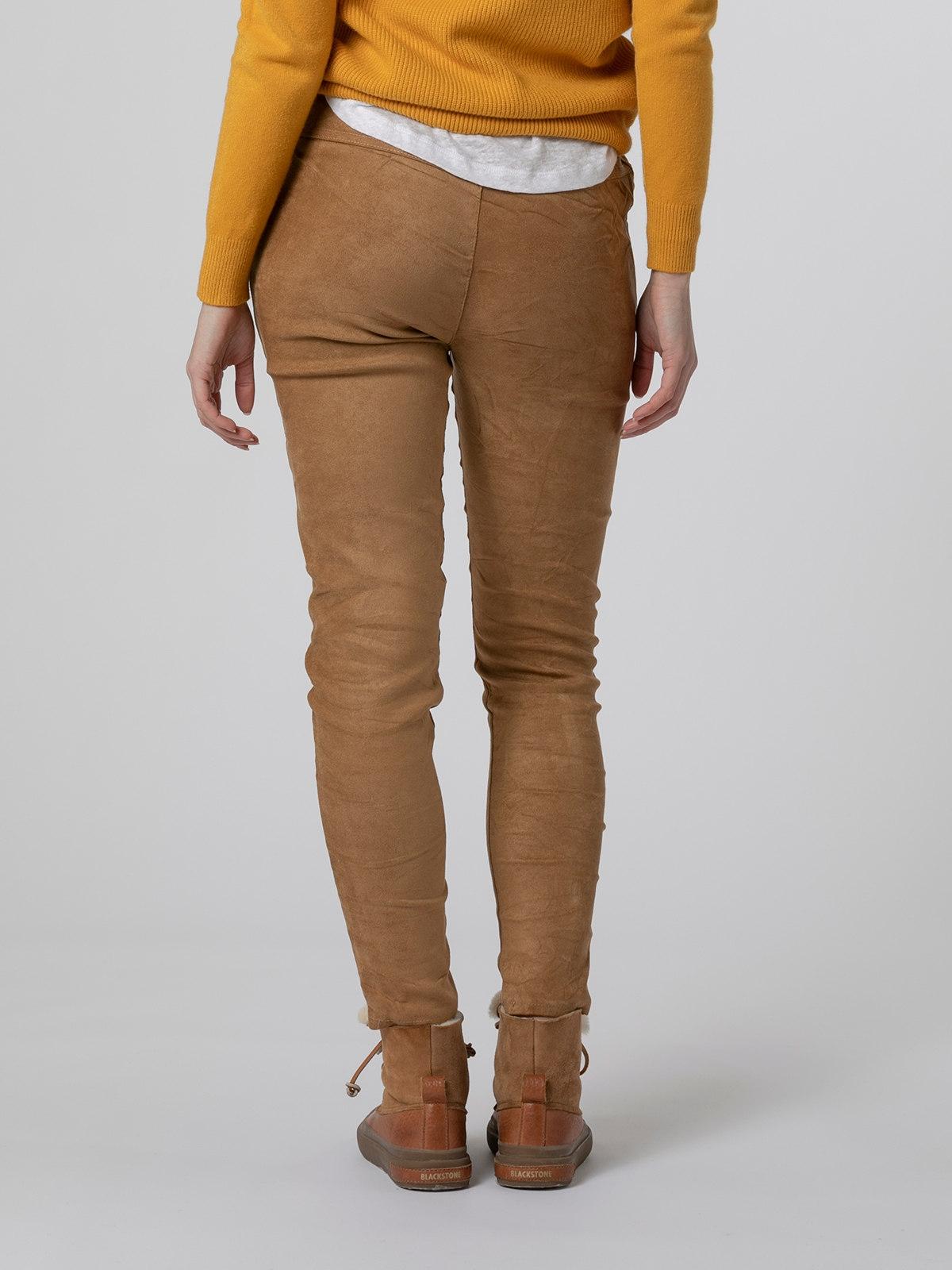 Woman Ecological dye rubber sport pants Camel