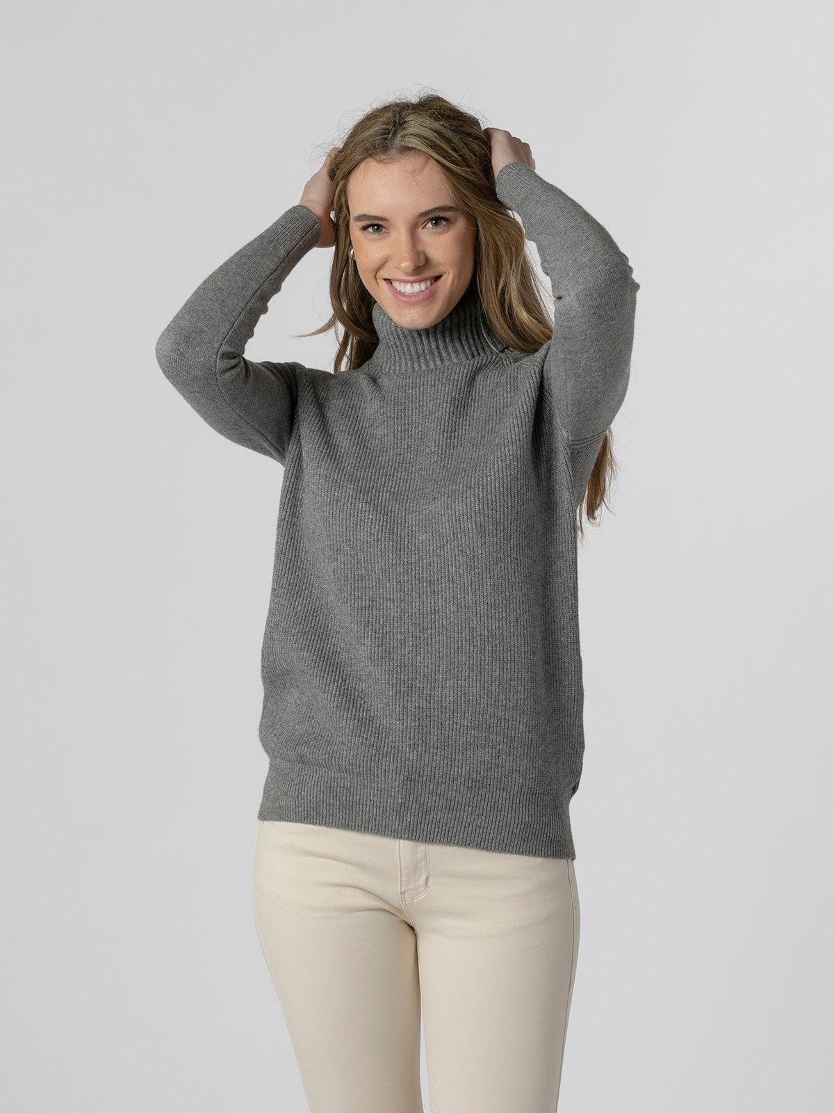 Woman Ribbed turtleneck sweater Grey