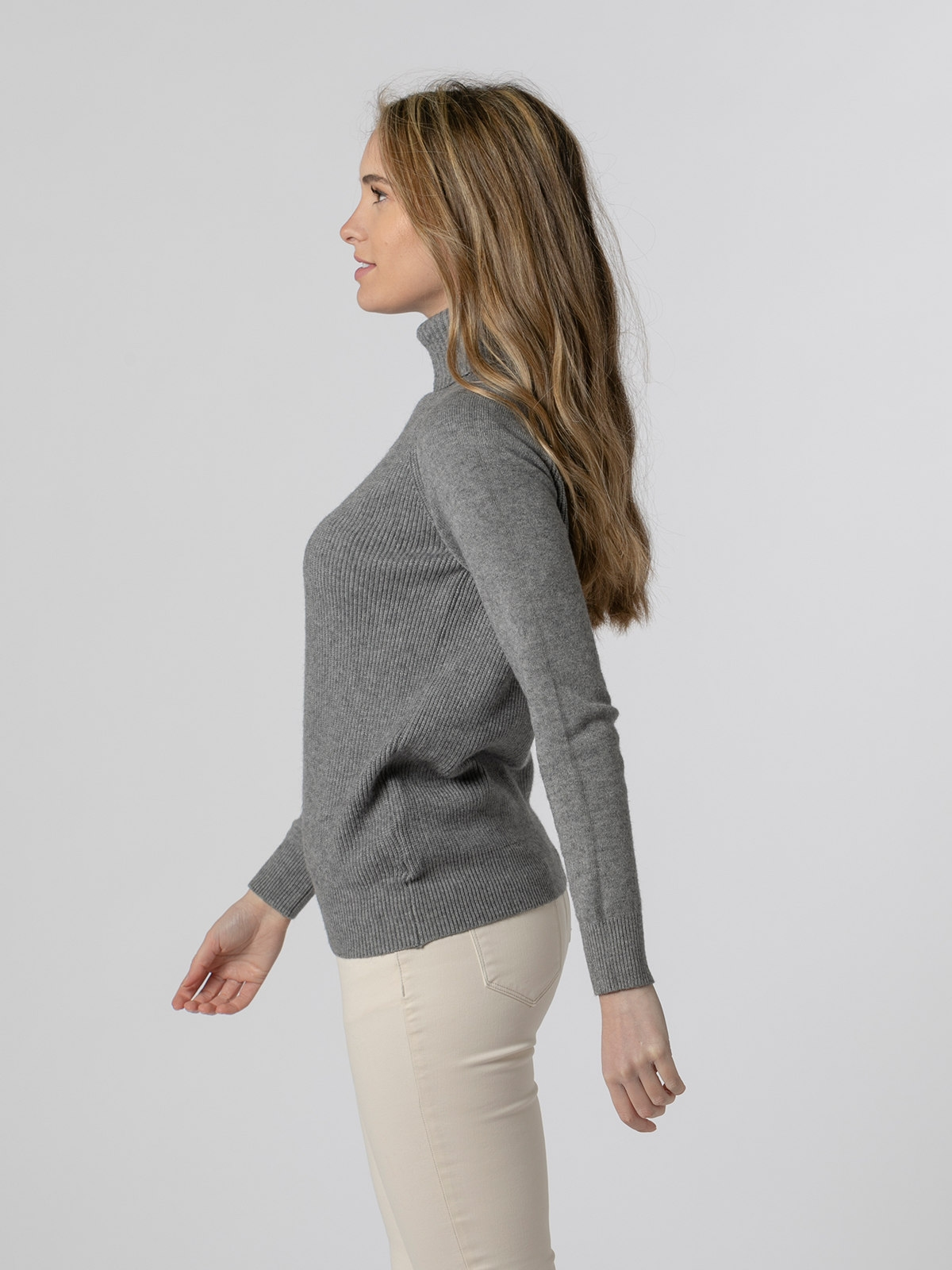 Jersey mujer cuello vuelto canalé Gris