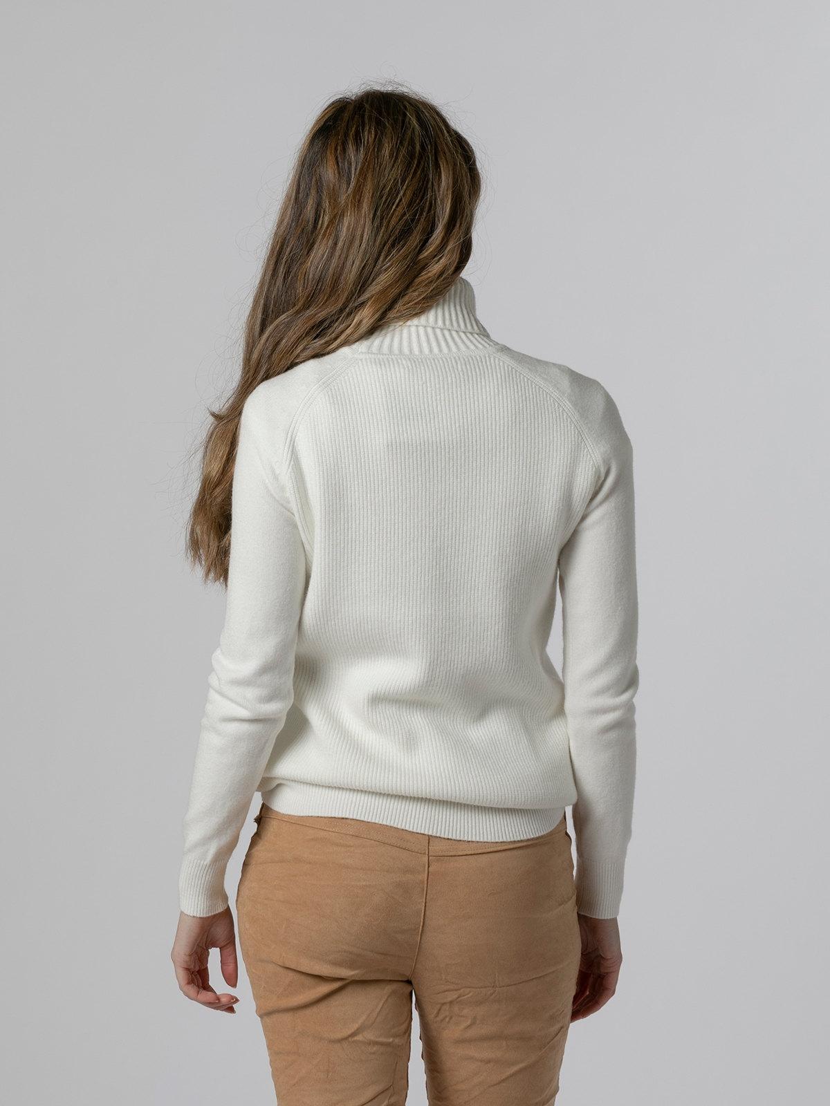 Jersey mujer cuello vuelto canalé Blanco
