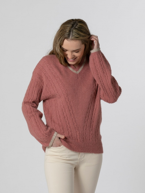 Woman Gold detail knit sweater Tile