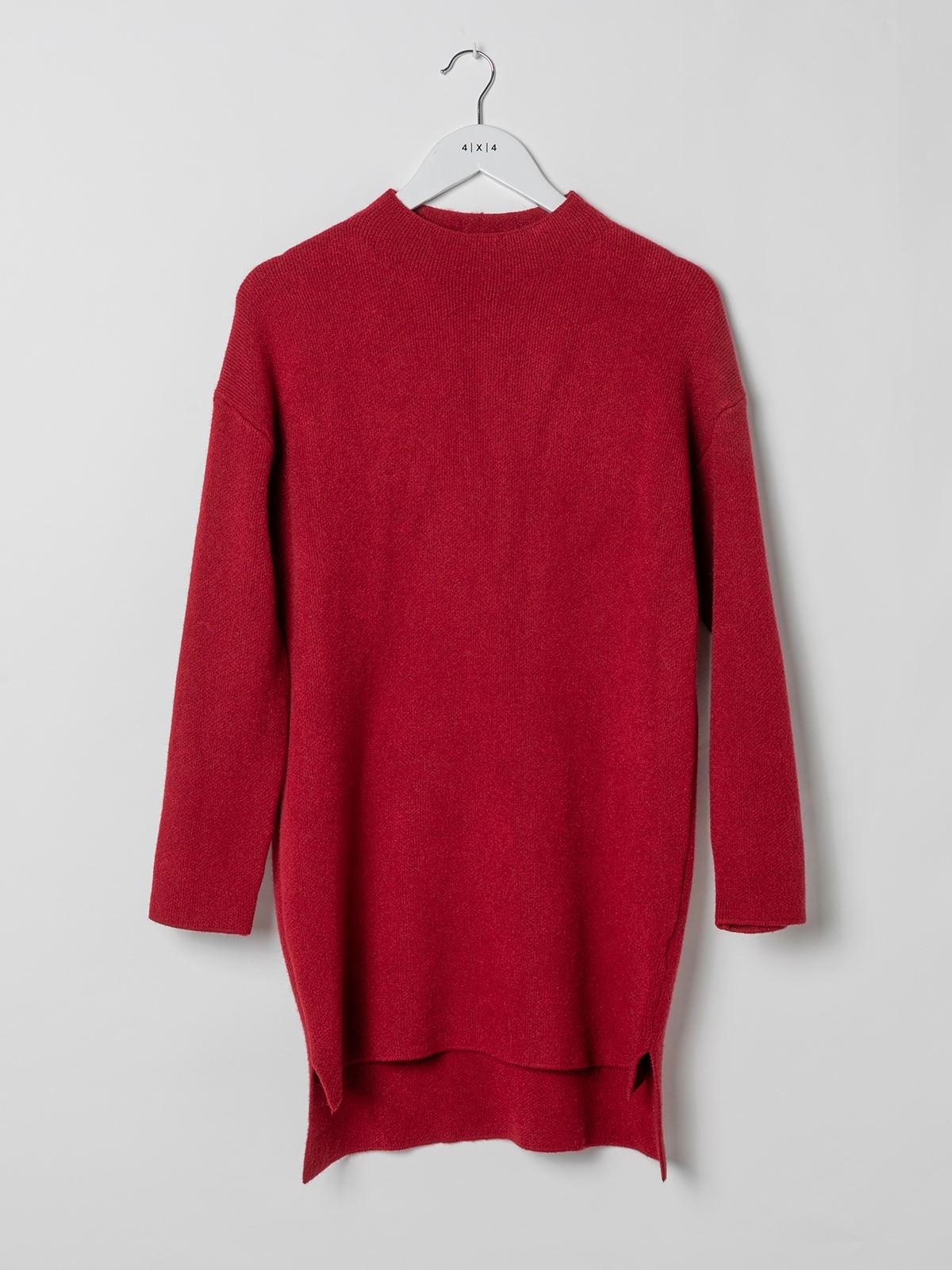 Woman Soft knit dress sweater Granate